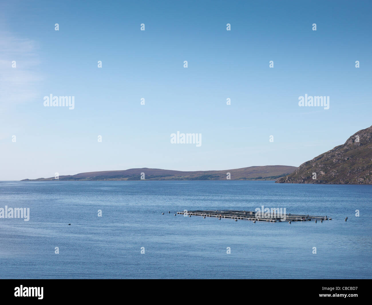 Aerial view of fish farm - Stock Image