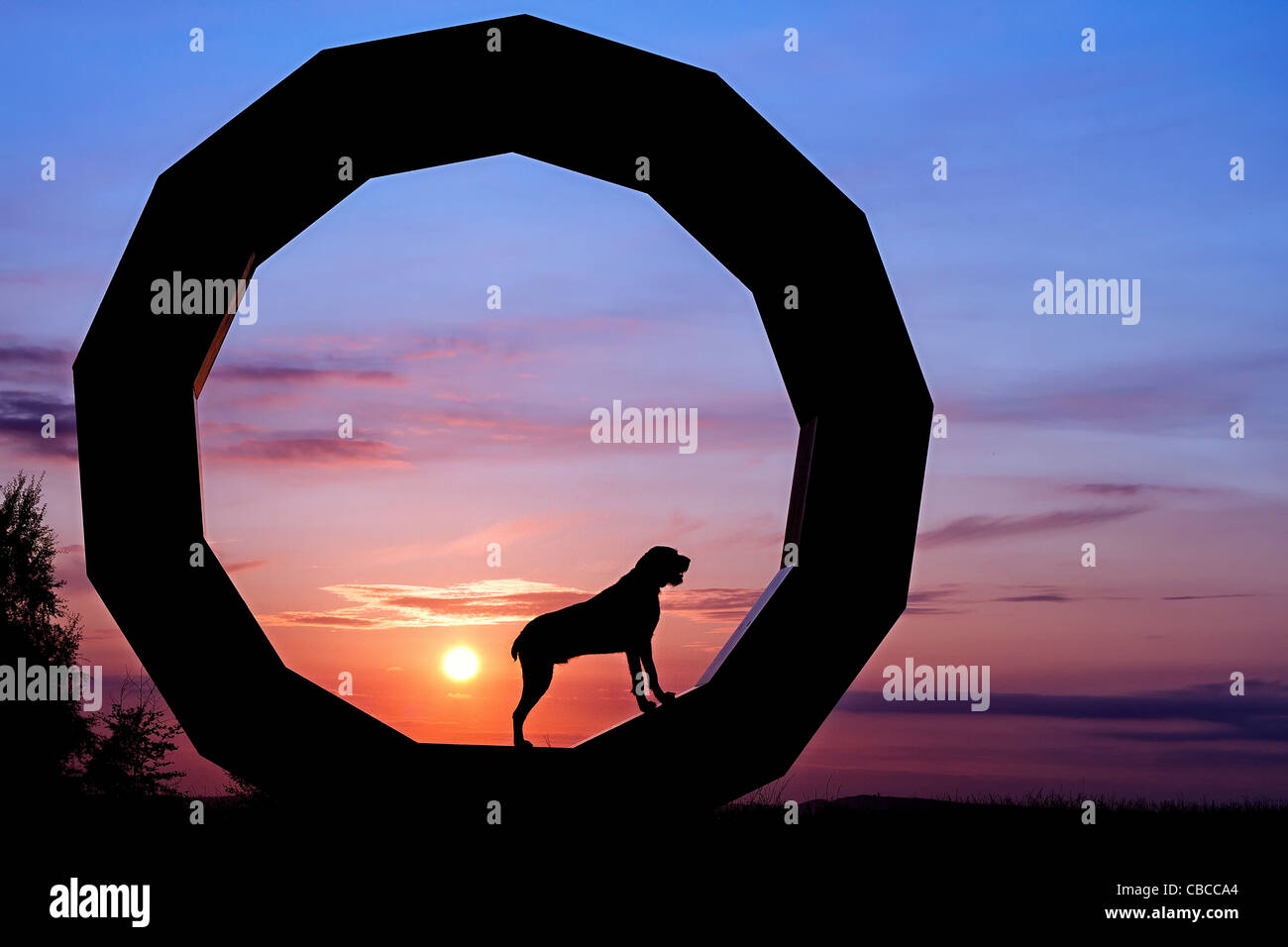 SUNSET SILHOUETTE German Wirehaired point dog standing, facing right in a granite sculpture, Heavens Gate, Longleat - Stock Image