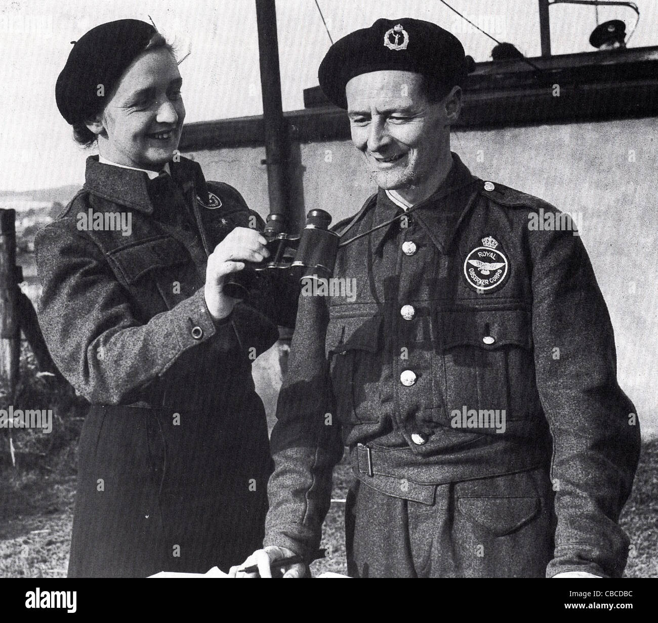 British WW11 Royal Observer Corps operators. This service monitored enemy aircraft to give advance warning of bombing - Stock Image