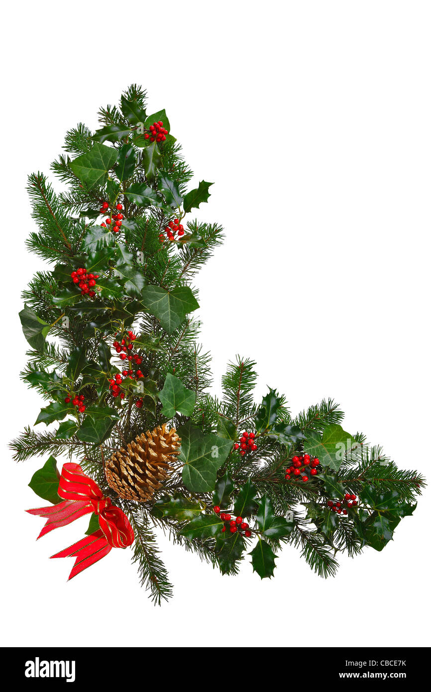 Photo Of A Christmas Garland In An L Shape With Holly Red Berries