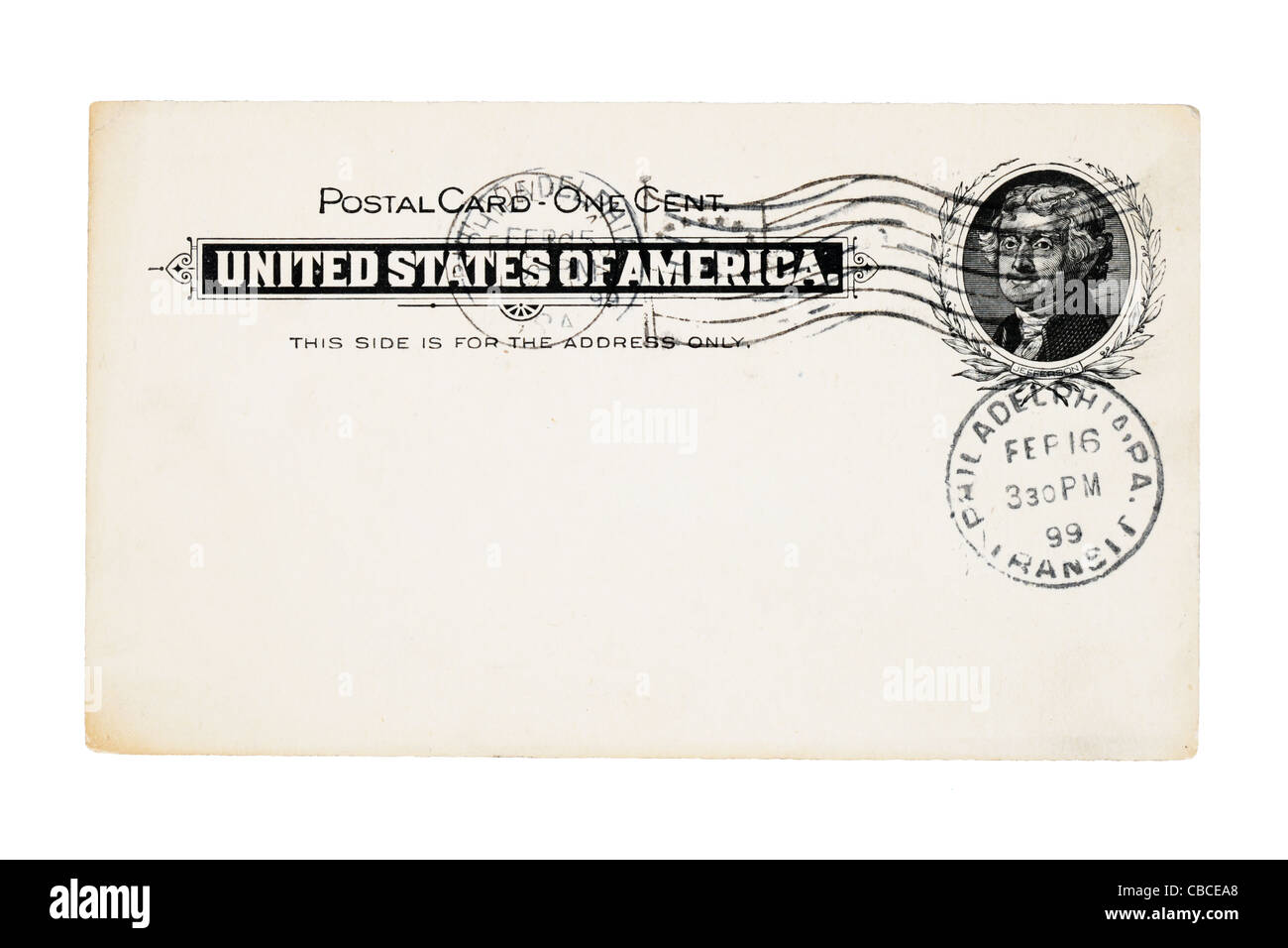 1899 canceled antique post card from the United States with one cent stamp isolated on white background - Stock Image