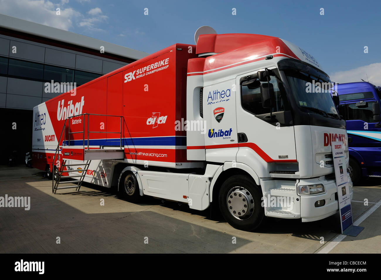 althea ducati superbike transporter in the paddock Stock Photo
