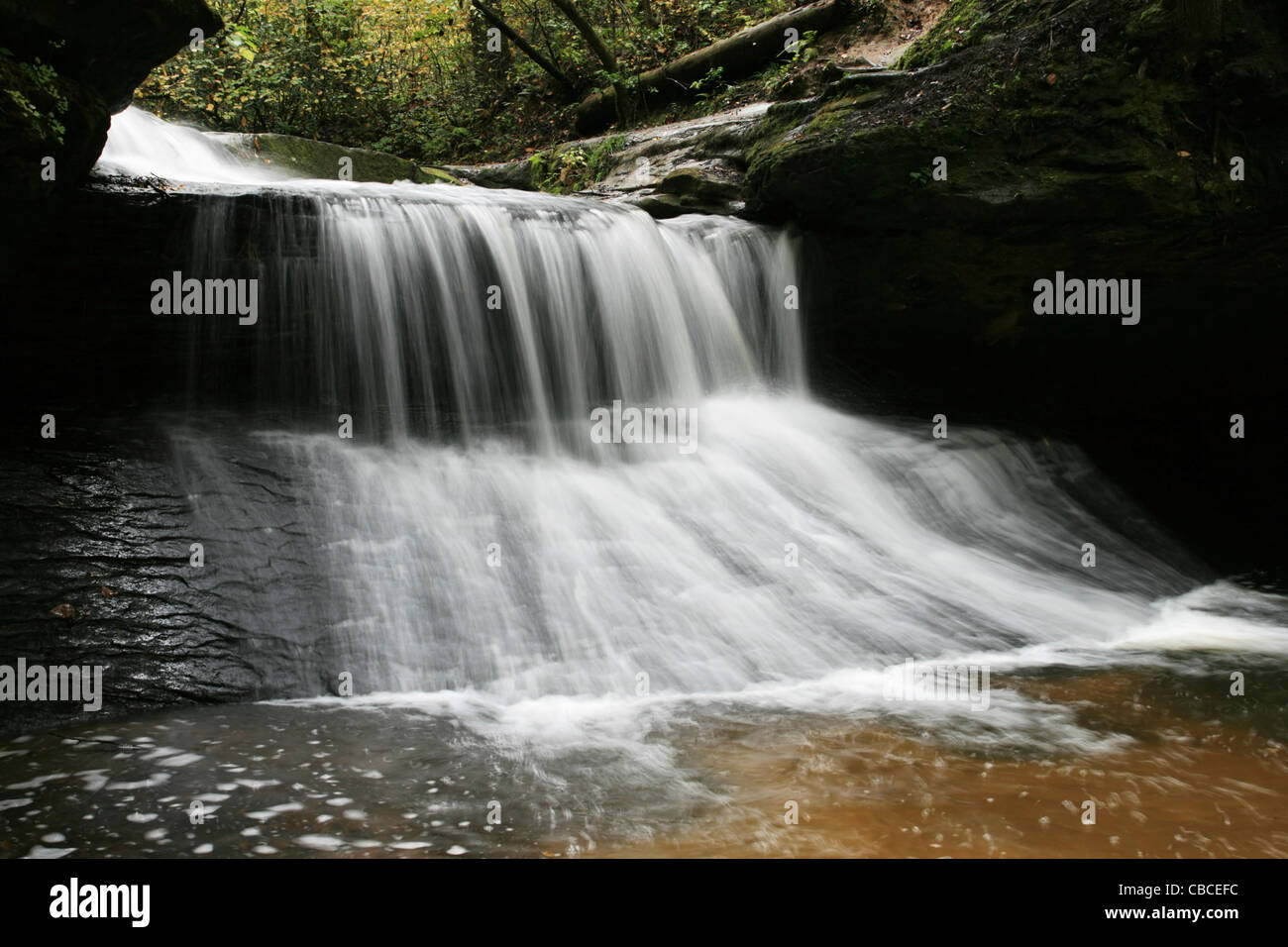long exposure of Creation Waterfall in the Red River Gorge region of Kentucky - Stock Image