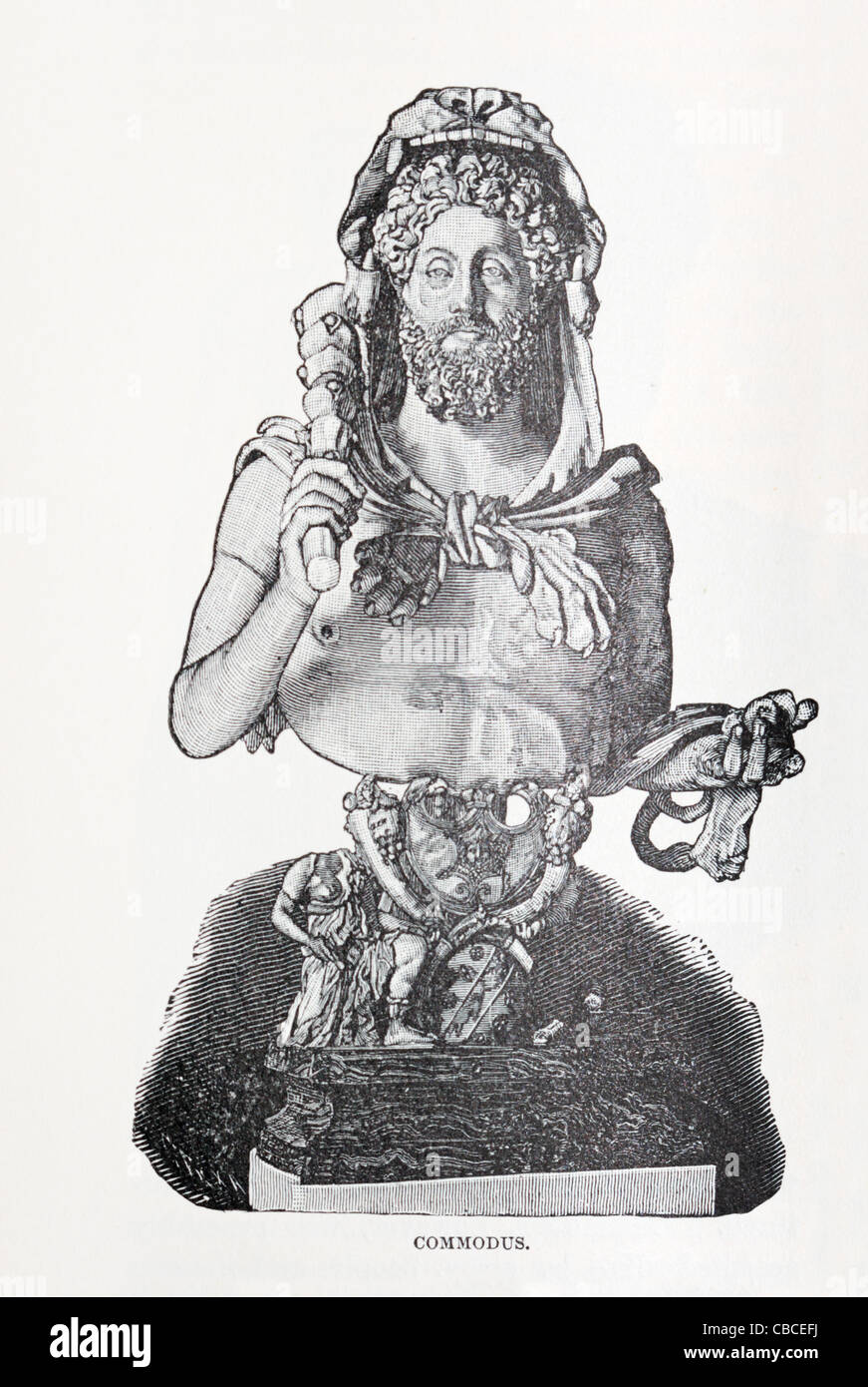 picture of bust of Commodus the Roman ruler from an 1896 book - Stock Image