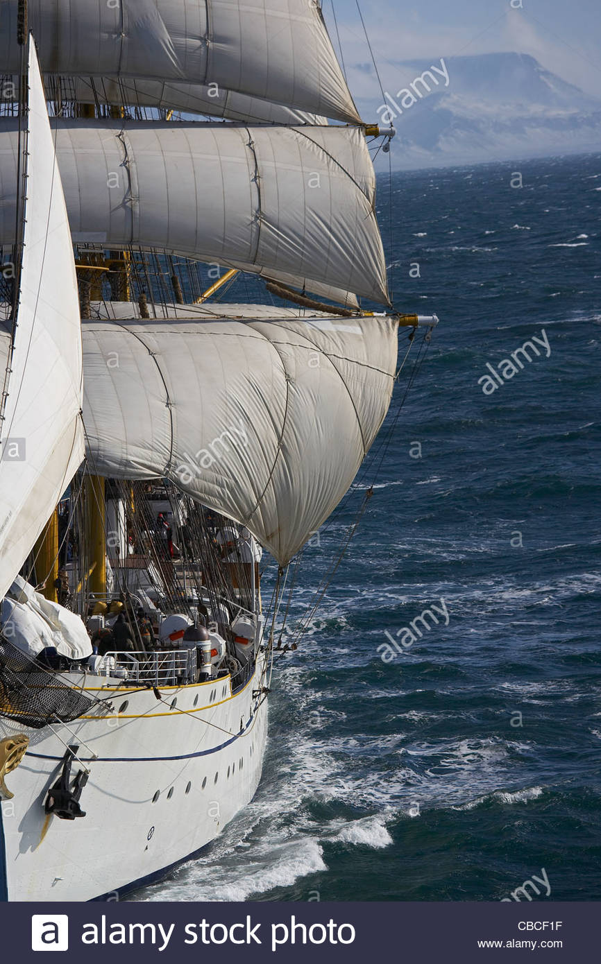Ship sails in wind - Stock Image