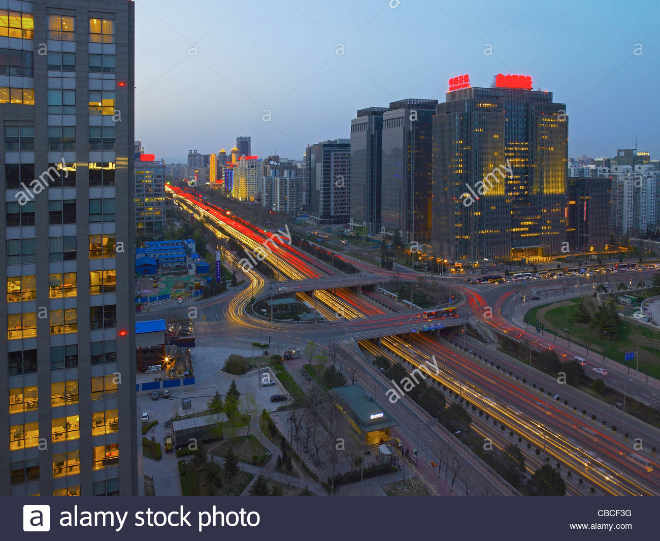 Time lapse view of traffic in Beijing - Stock Image