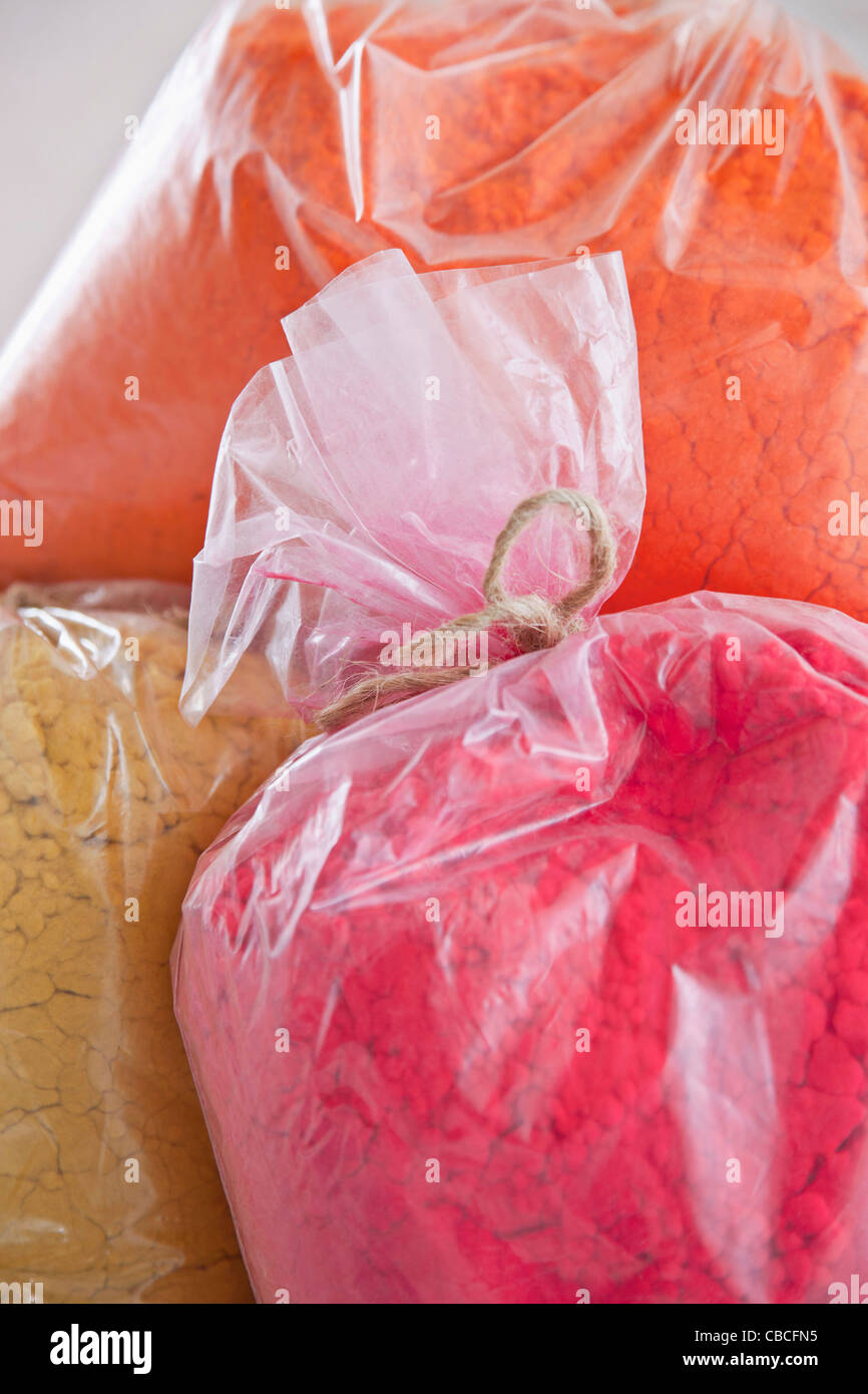 Close up of bags of pigment - Stock Image