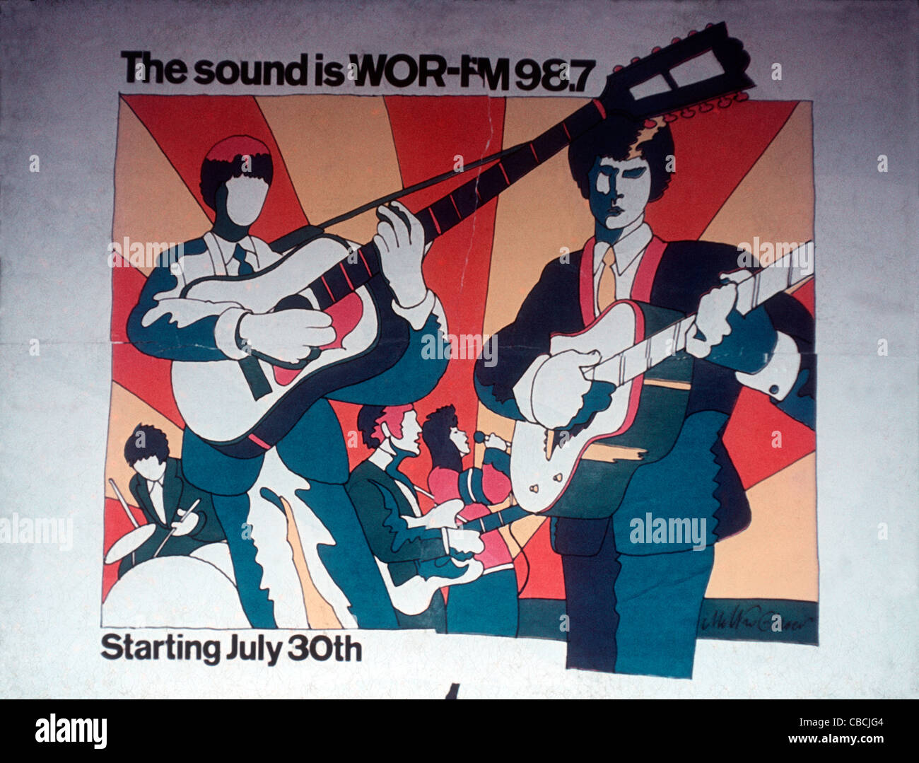 A subway advertising poster for New York's first alternative rock FM radio station, WOR-FM from July 1967 - Stock Image
