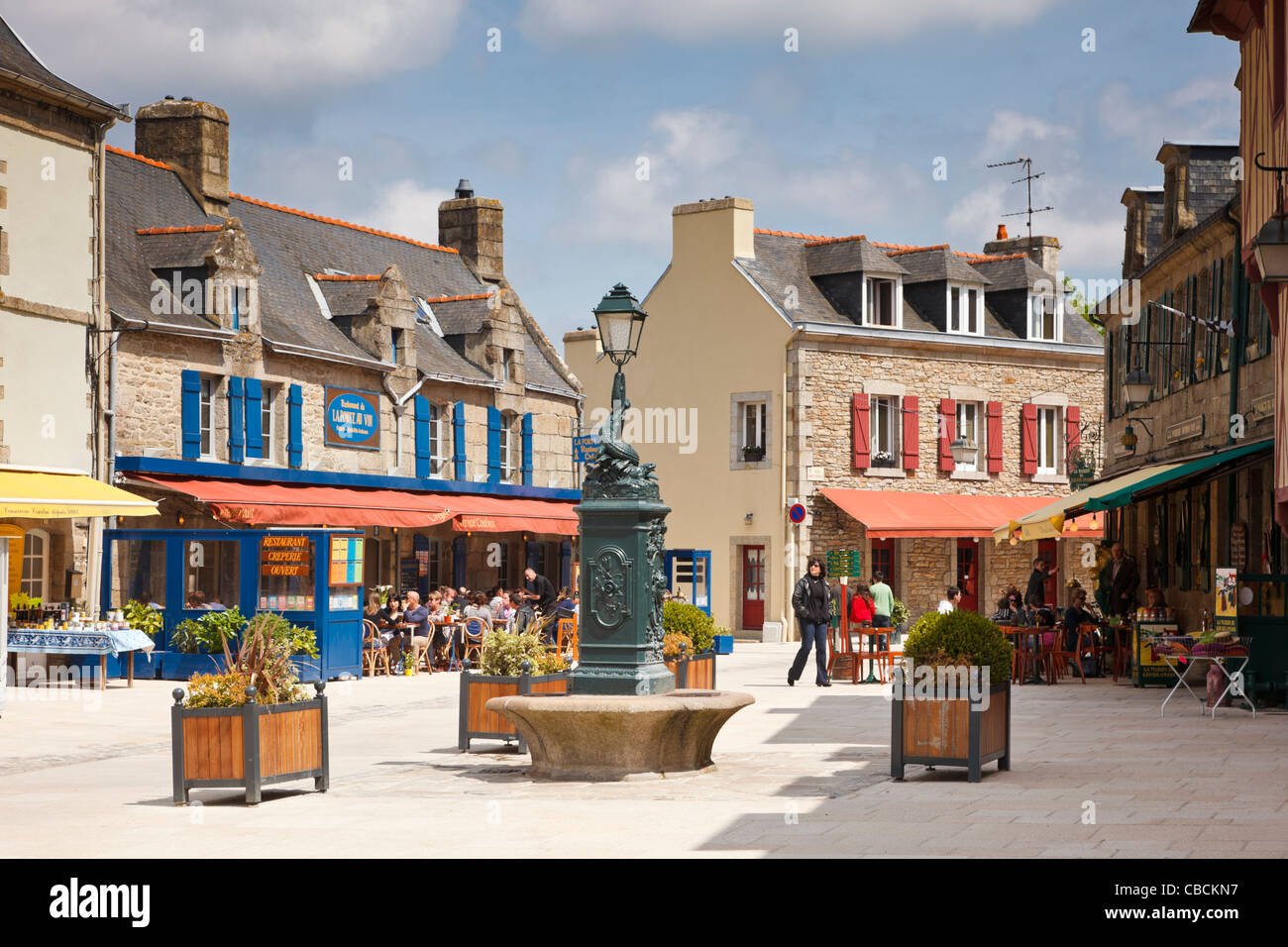 Brittany - The town square, Concarneau old town, Finistere, Brittany, France Stock Photo