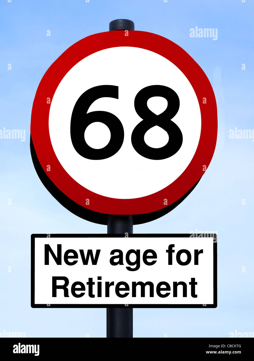 New age for retirement, 68 roadsign, isolated on a blue sky - Stock Image