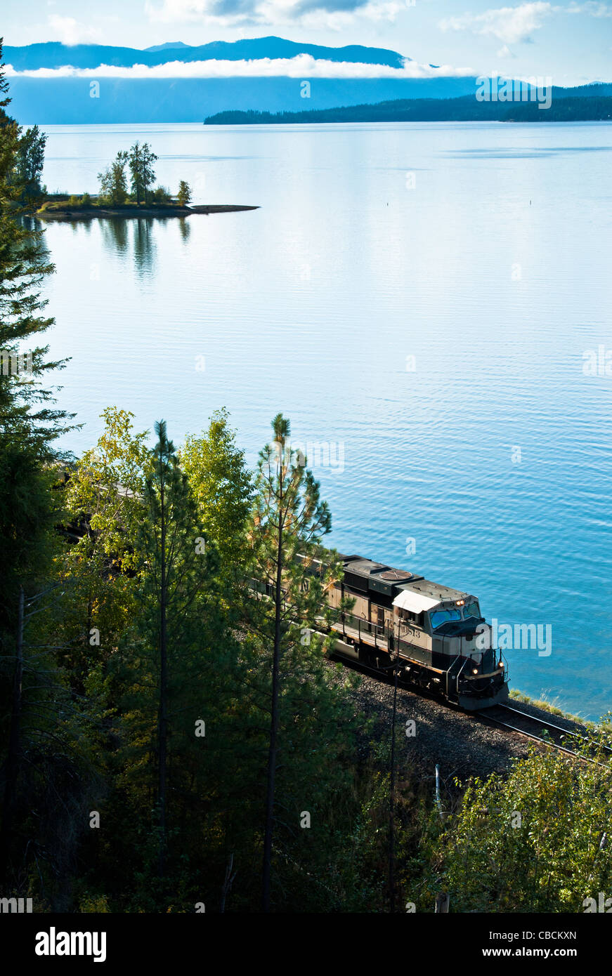 Lake Pend Oreille is a lake in the northern Idaho Panhandle, with a surface area of 148 square miles. It is 65 miles - Stock Image