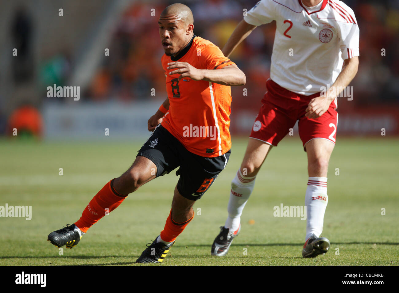 Nigel de Jong of the Netherlands in action during a FIFA World Cup match against Denmark at Soccer City Stadium. - Stock Image