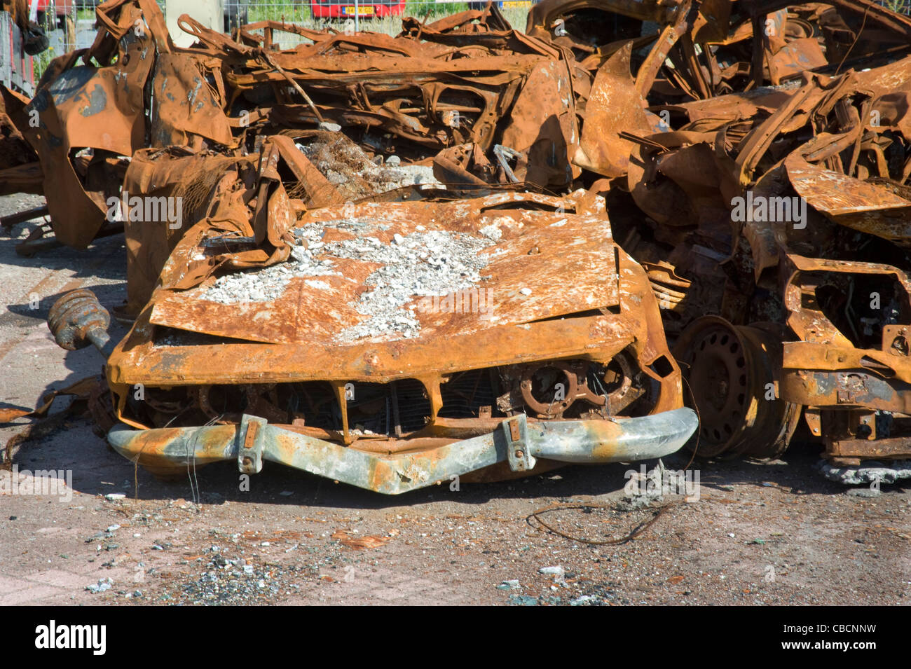 Burned dowm BMW, Noord Holland Amsterdam, fire, rusty - Stock Image