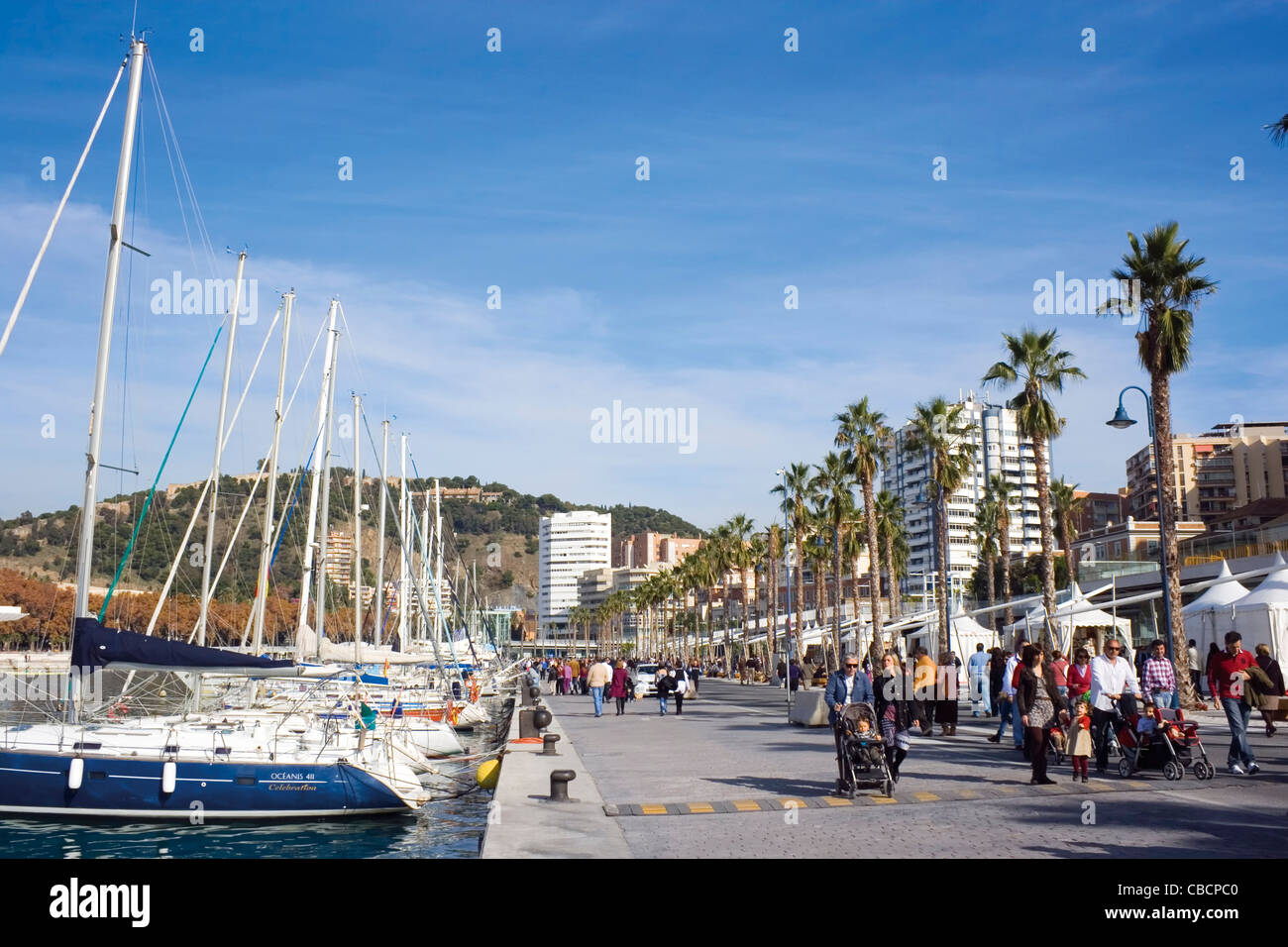 The newly renovated port of Malaga, Costa del Sol, Andalucia, Spain. - Stock Image