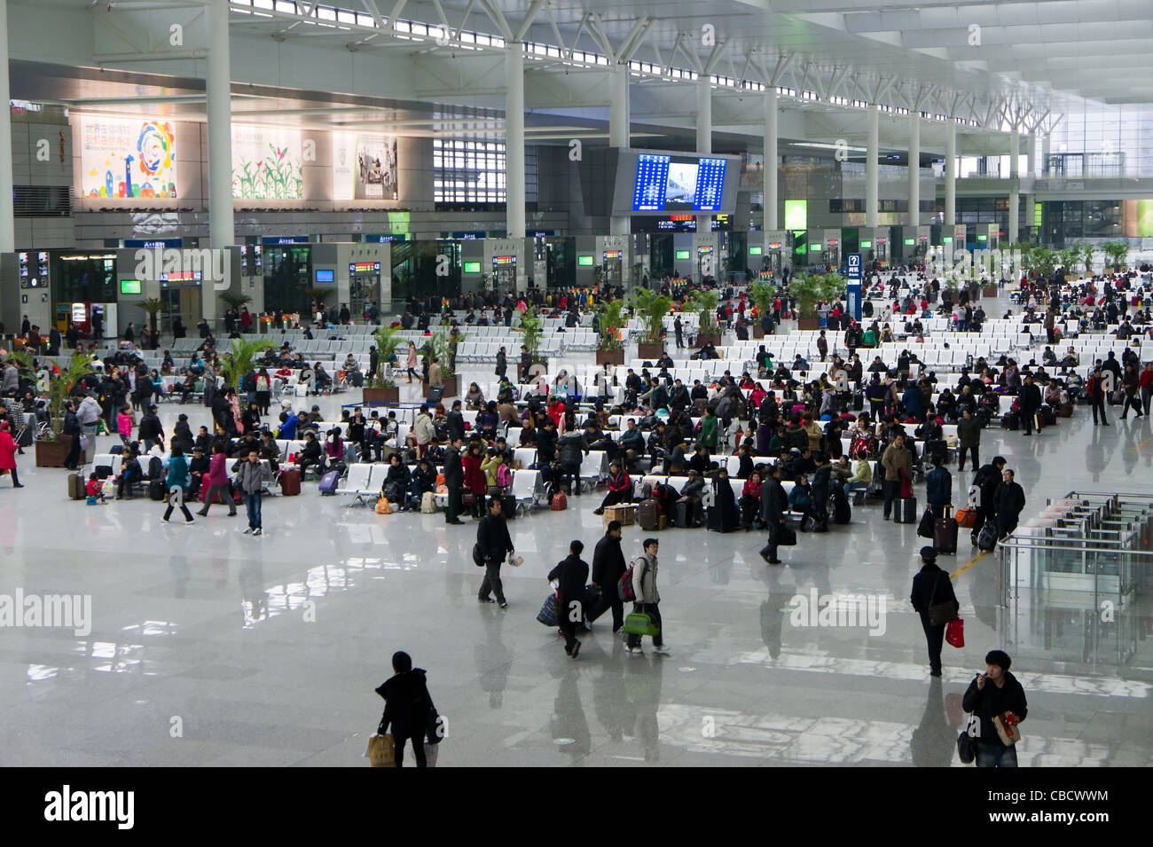 Waiting room for high speed trains at the Shanghai Hongqiao Railway Station, China - Stock Image