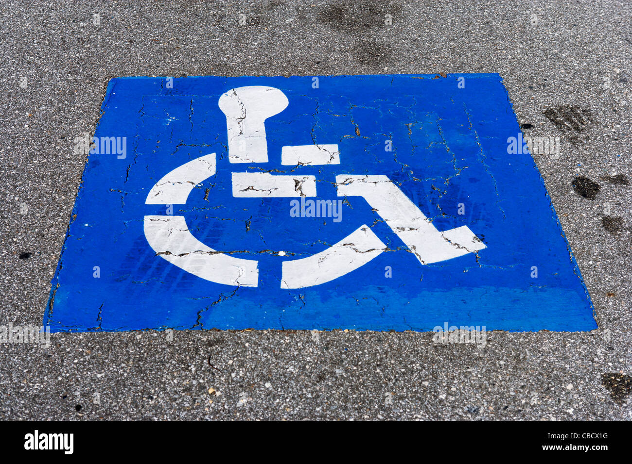 Disabled parking space, Florida, USA - Stock Image