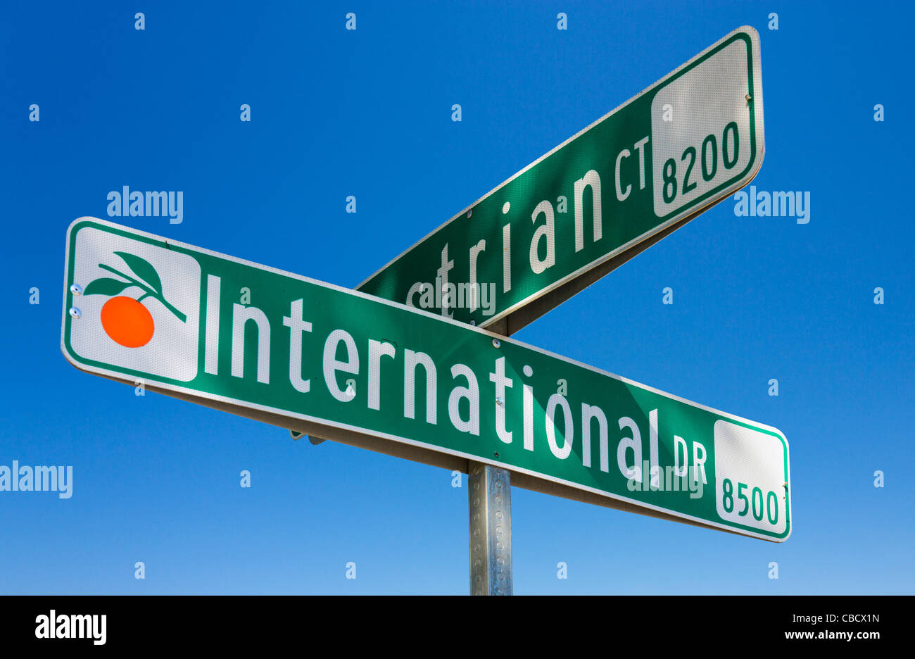 Street sign, International Drive, Orlando, Central Florida, USA - Stock Image