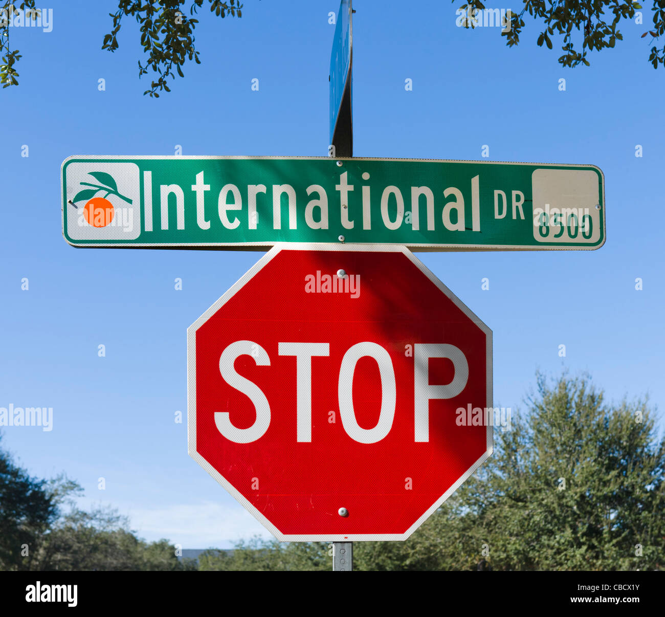 Street and Stop signs, International Drive, Orlando, Central Florida, USA - Stock Image