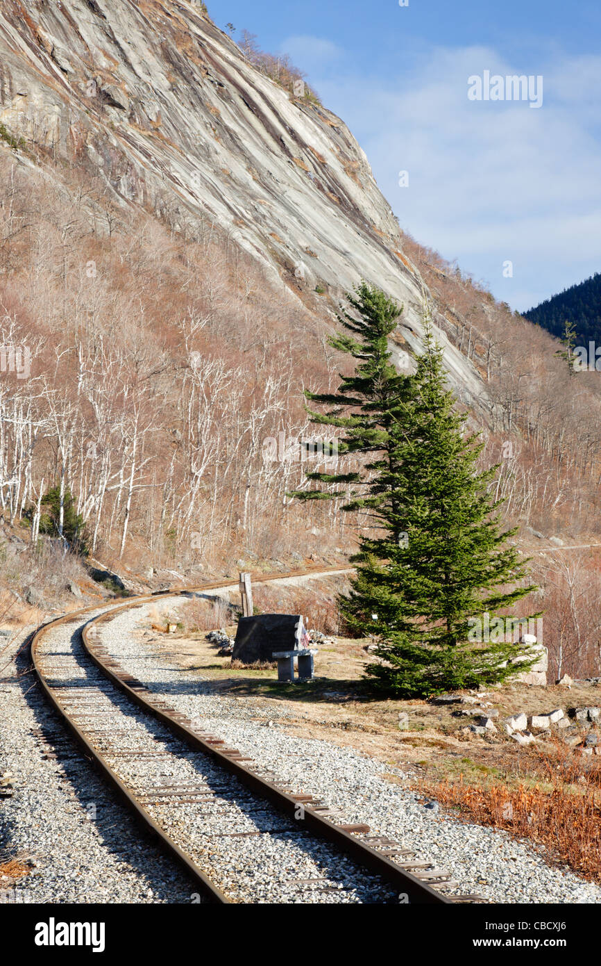 Crawford Notch State Park - Site of the Mt. Willard Section House along the Maine Central Railroad. Burned in 1972 Stock Photo