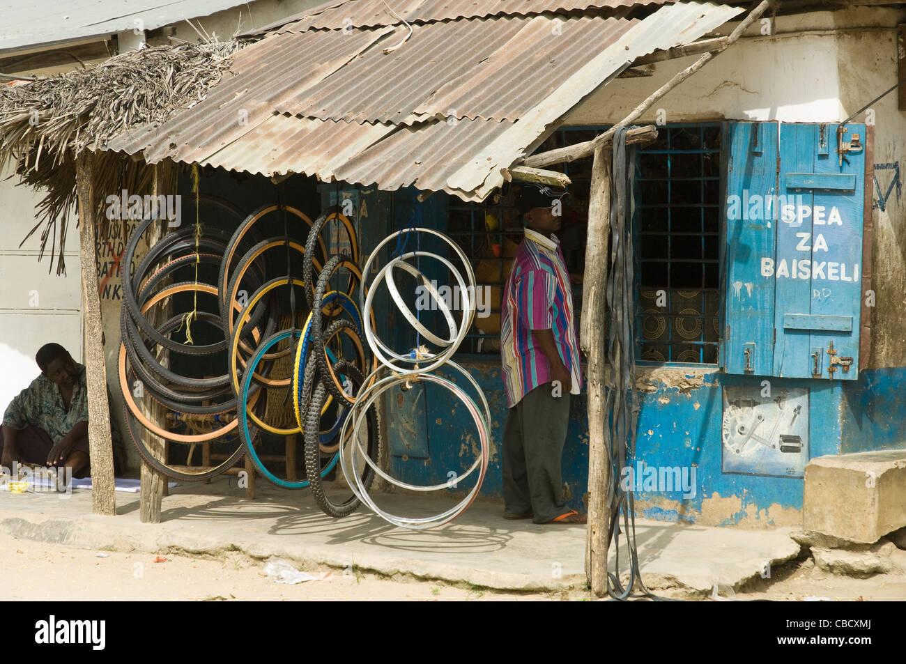 Kiosk with bicycle spare parts Bagamoyo Coastal Region Tanzania - Stock Image