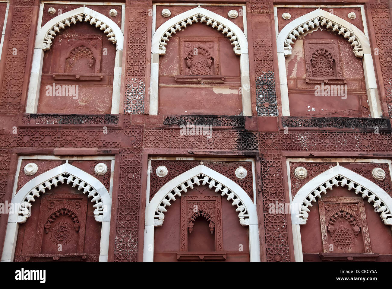 Perforated Window,Architecture,Historical,Indoslimic Architecture,Patten,Detail of Fort,Fort,Tourist Spot,Indian - Stock Image