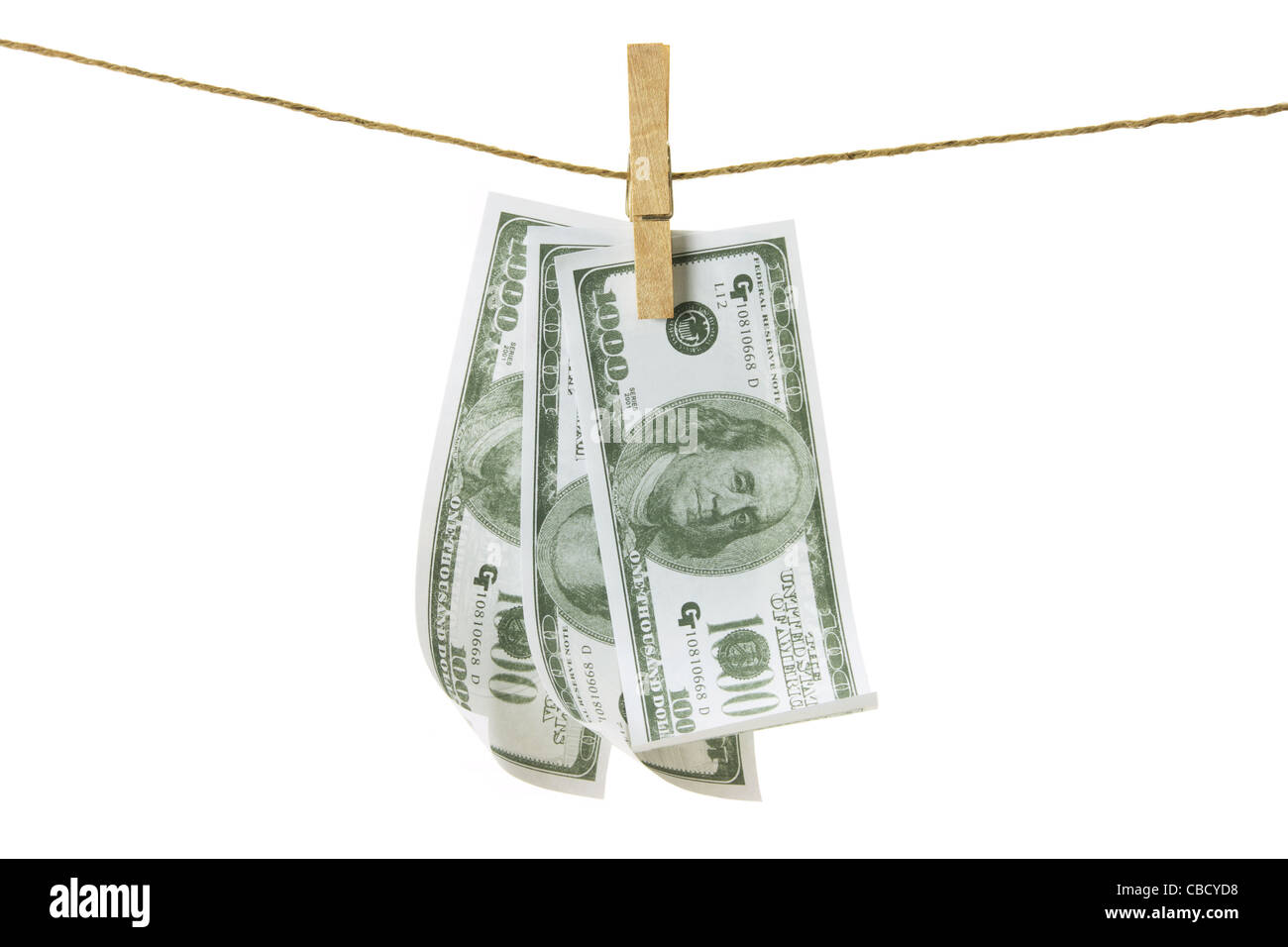 Clothes Line with Dollar Notes - Stock Image