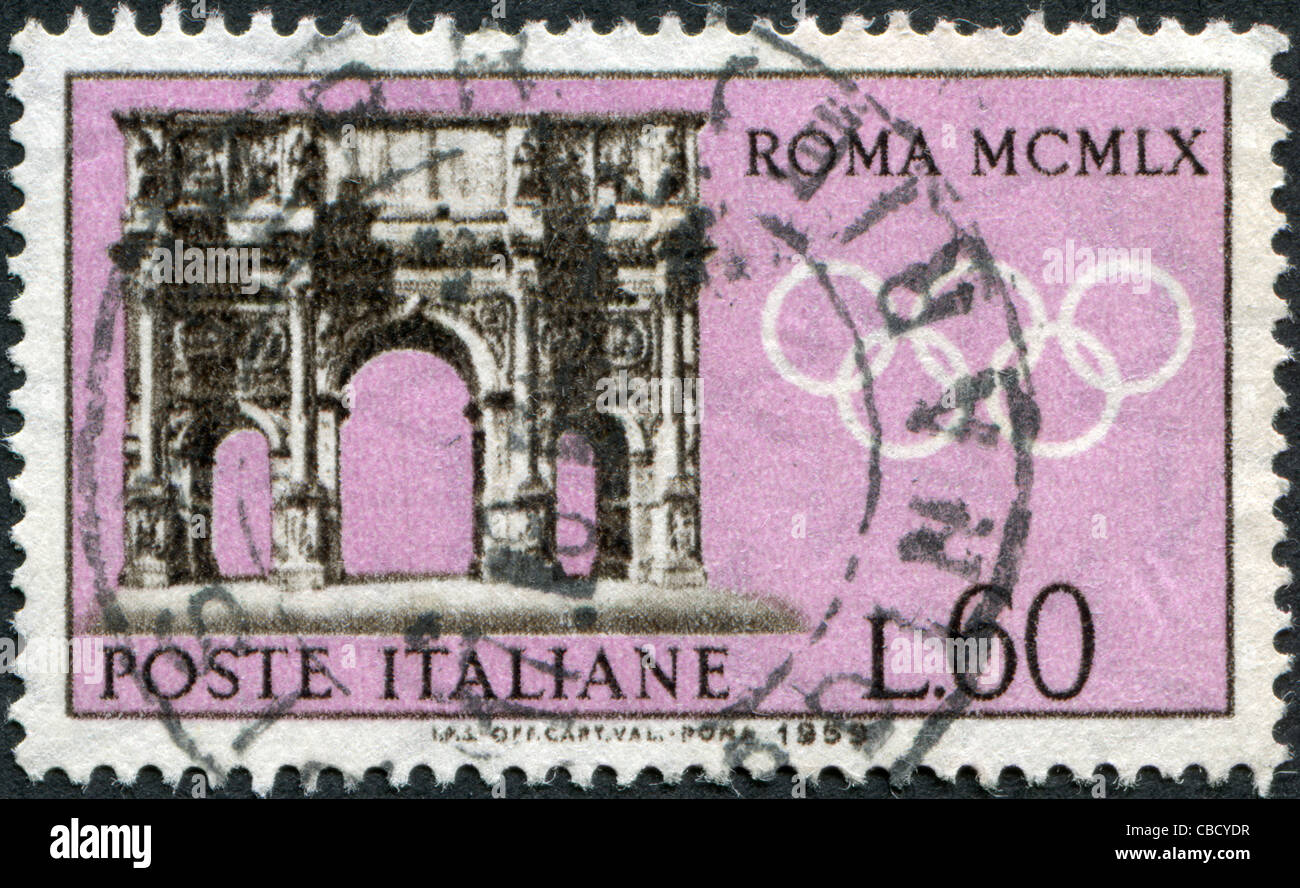 ITALY - CIRCA 1959: A stamp printed in Italy, is dedicated to Olympic Games in Rome, shows the Arch of Constantine, Stock Photo