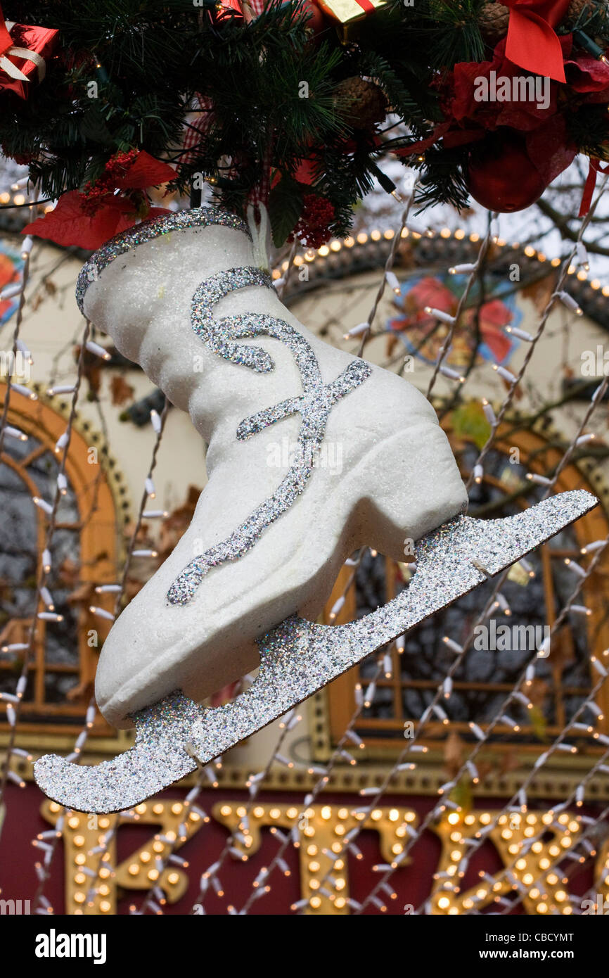 Giant Ice Skate Christmas decorations in the city of London England - Stock Image