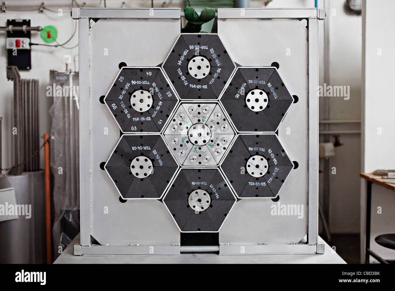 Special formation of MSR canal for irradiation on cyclotron - part of research of reactors of 4th generation  in - Stock Image