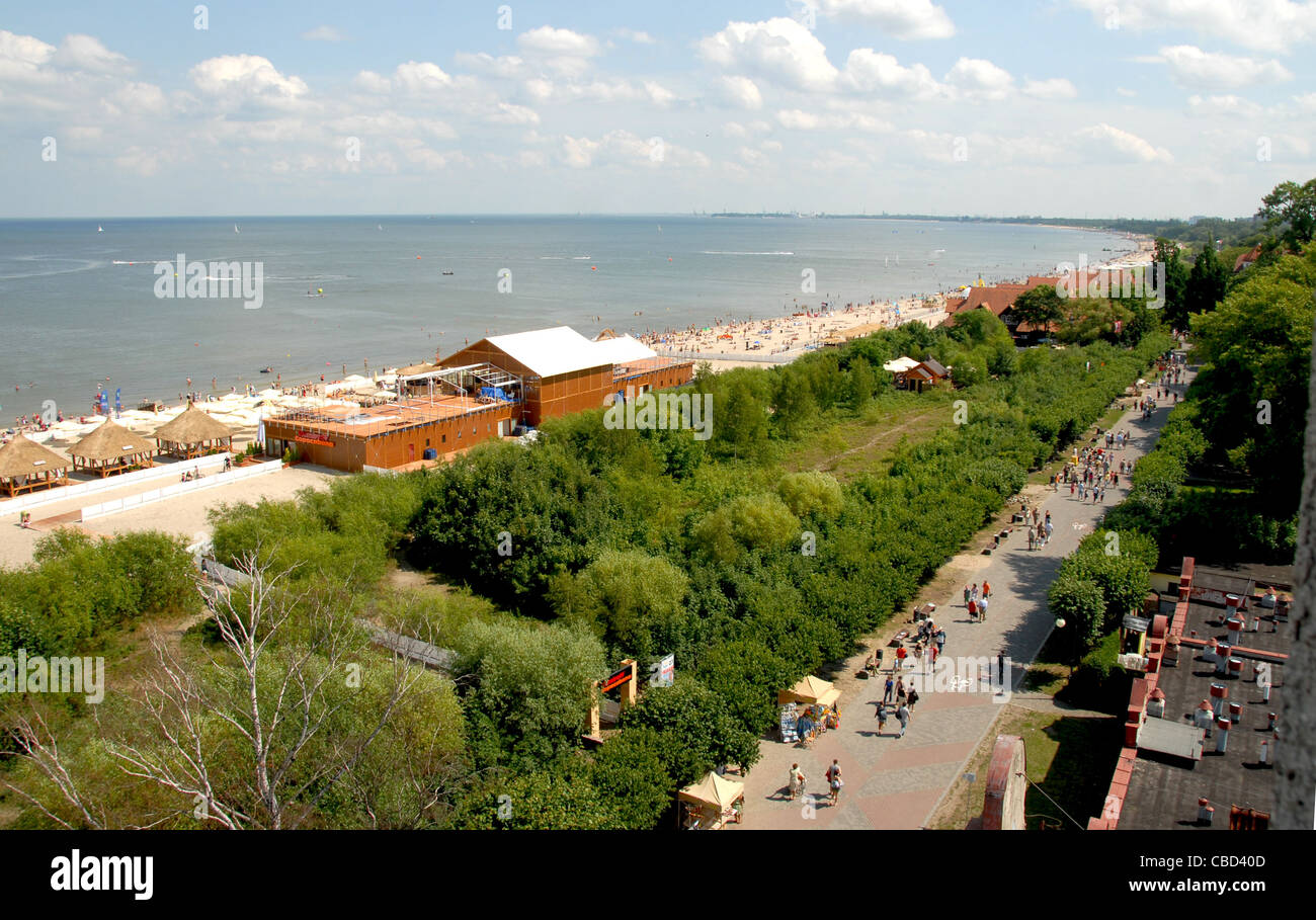 Looking from the lighthouse onto the promenade along the south beach and Baltic Sea shores in the seaside resort - Stock Image