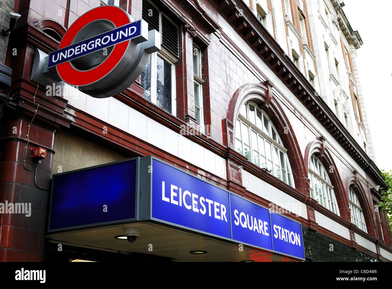 Entrance of London's Leicester Square Underground station - Stock Image