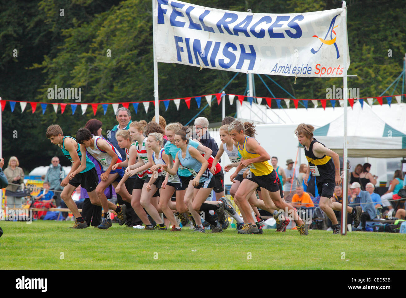 Fell Race Start 2011 at Ambleside Sports, The Lake District, Cumbria, England, UK - Stock Image