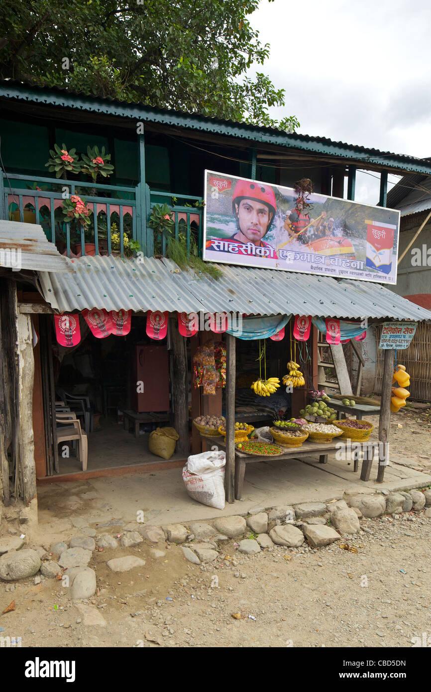 Shop fronts, Chatara town, Terai, Nepal, Asia - Stock Image