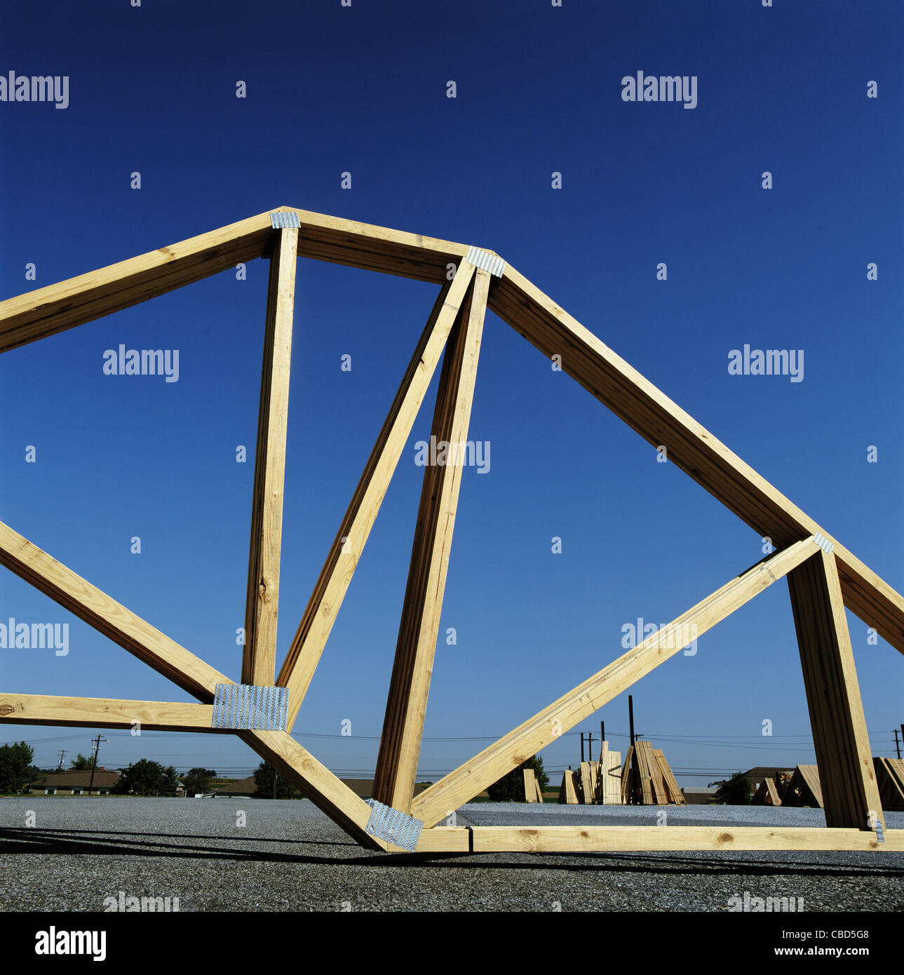 Roofing timber trusses on site Stock Photo