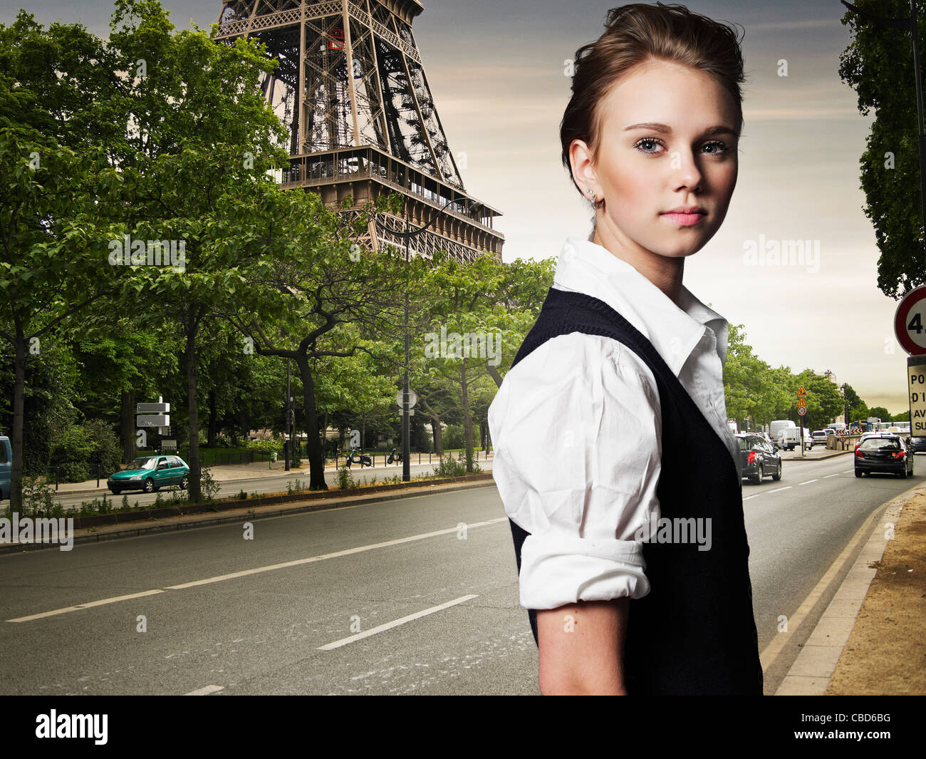 Woman walking on city street - Stock Photo