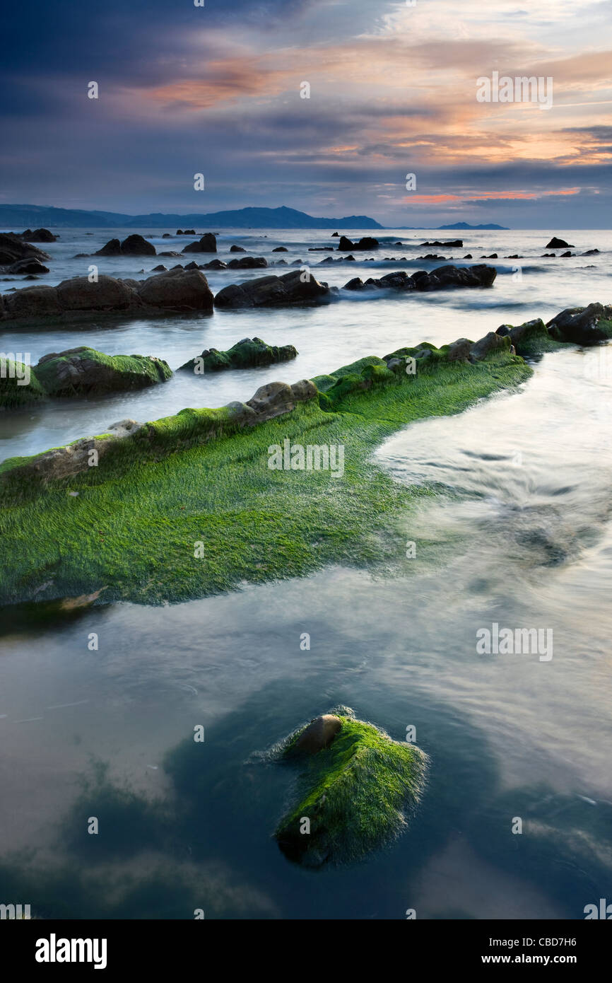 Still water on rocky beach - Stock Image