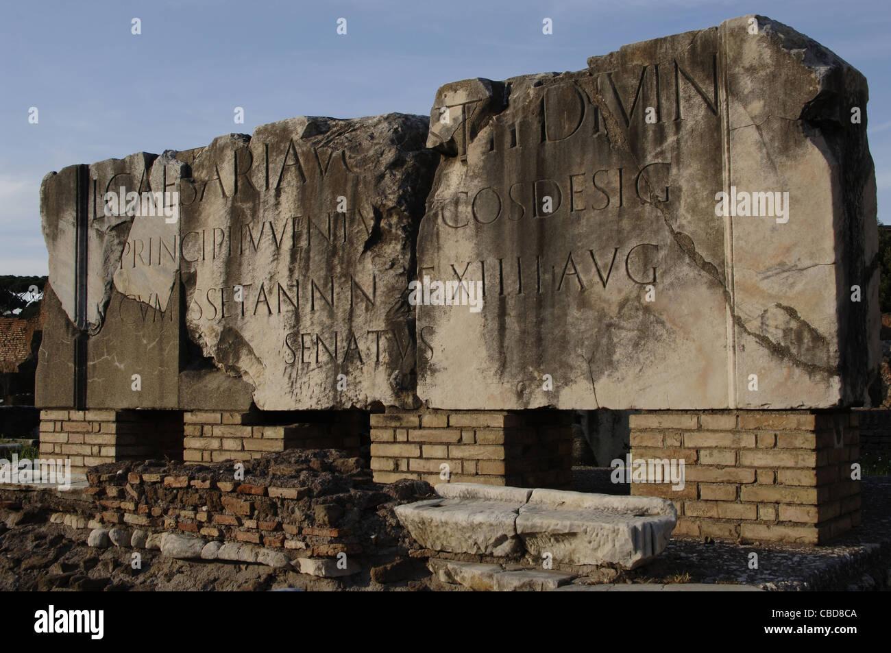 Inscription in a stone. Roman Forum. Rome. Italy. - Stock Image