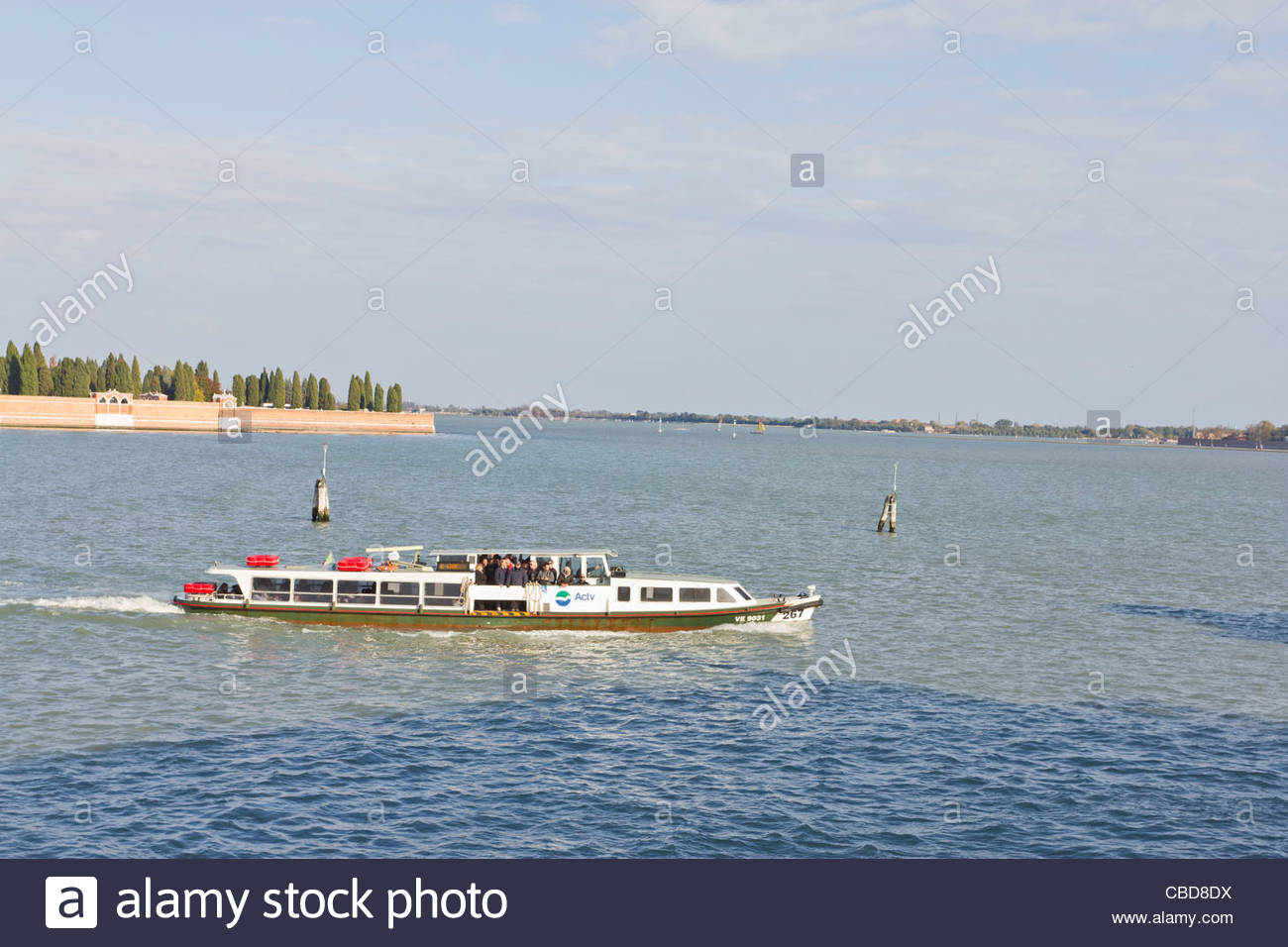Vaporetto (water bus) in main lagoon in Venice, Italy - Stock Image