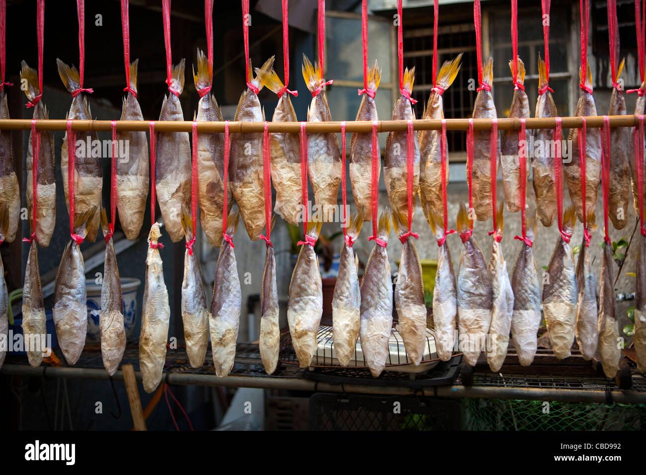 Air Drying Fish, Tai O Traditional Tanka Fishing Village, Hong Kong, China - Stock Image