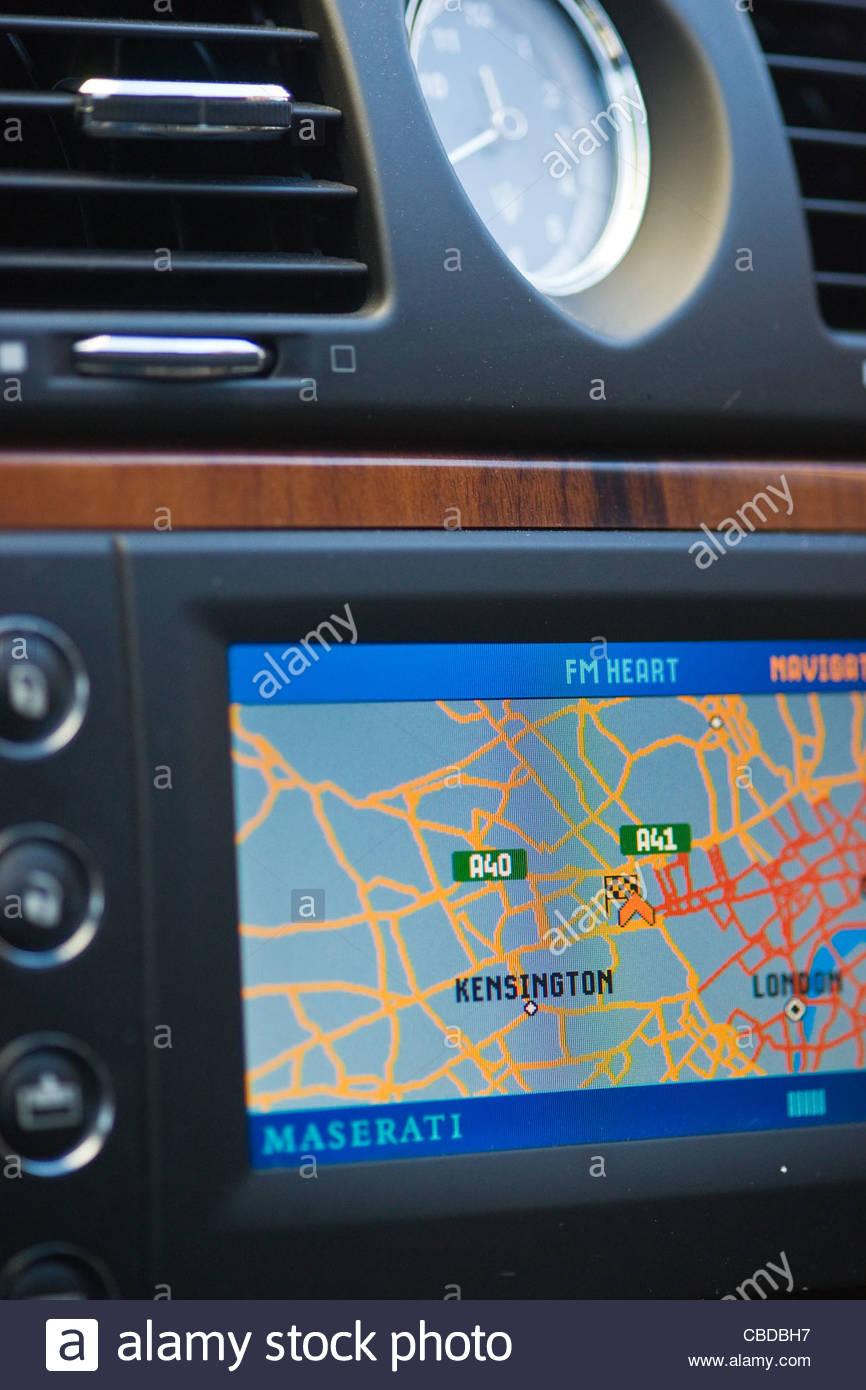 In car navigation system Maserati Navi Nuvi GPS - Stock Image
