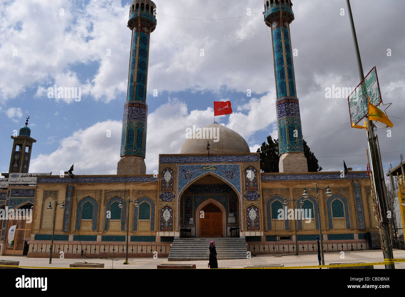 Shi'a mosque, shrine visited by women, daughter of Imam Hussain, Sayeeda Khawla, area controlled by Hezbollah - Stock Image