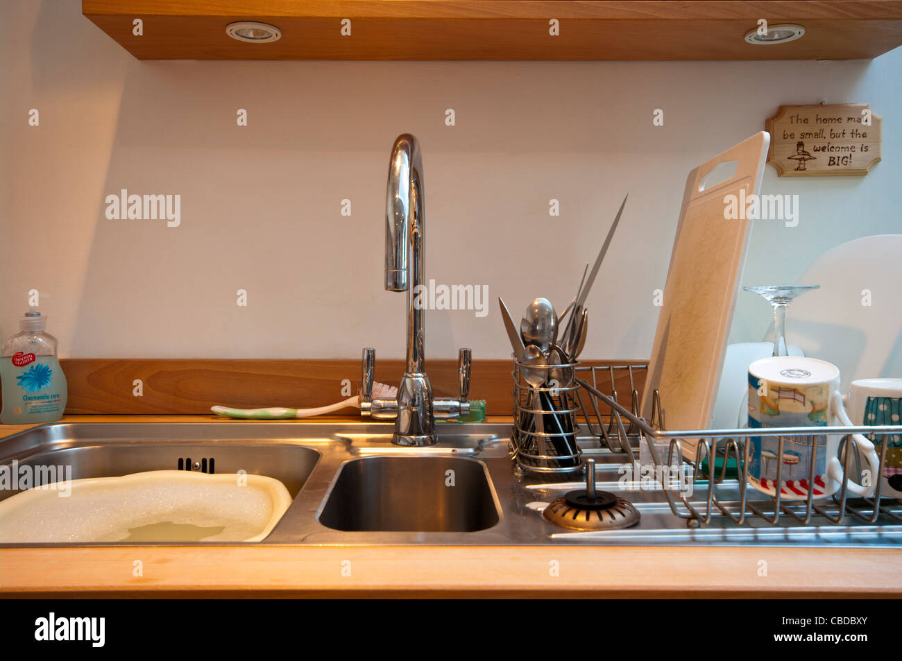 Kitchen Sink Draining Board Washing Stock Photos & Kitchen Sink ...