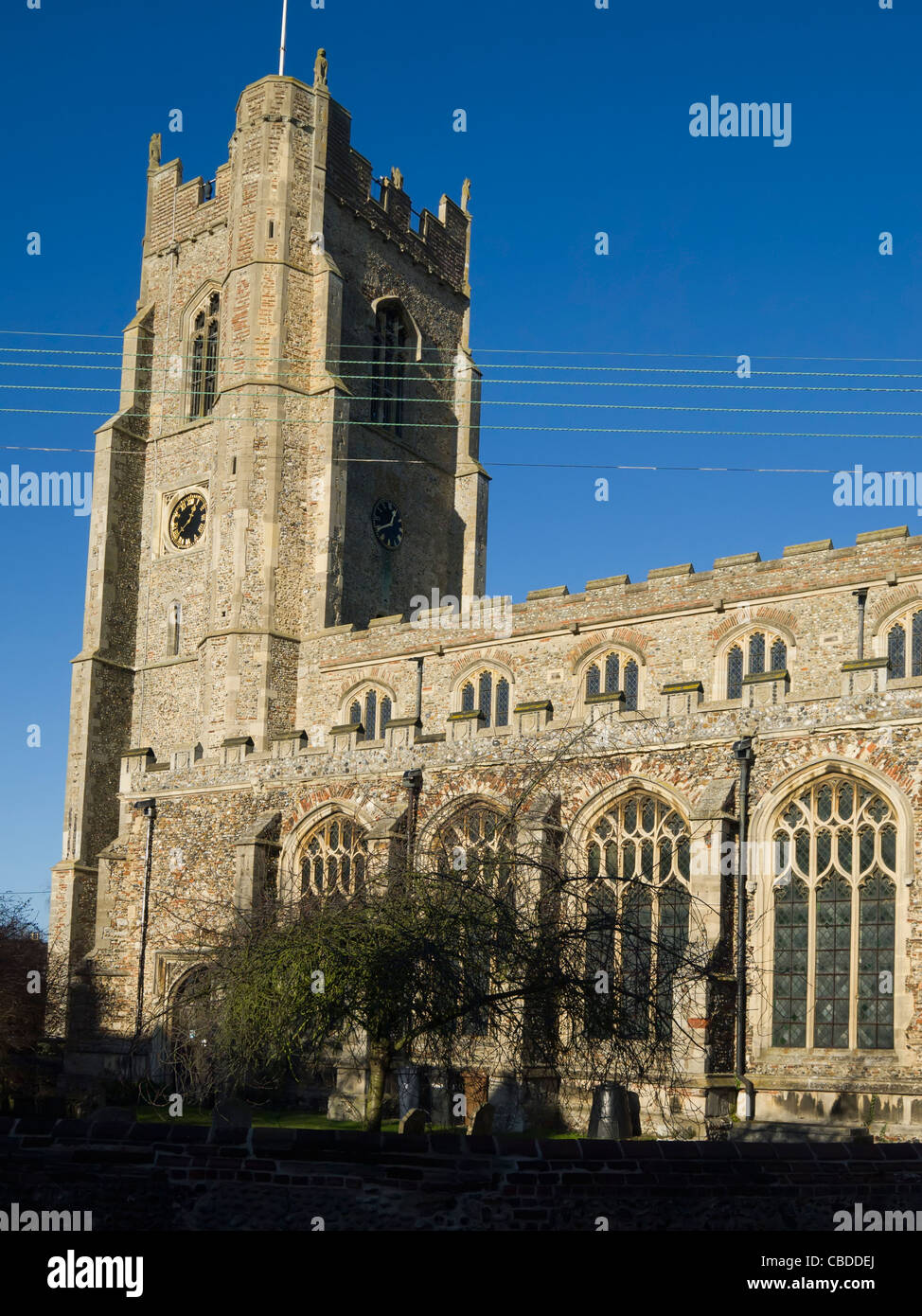 All Saints Church in Sudbury, England, photographed in the late-afternoon winter's light. Stock Photo