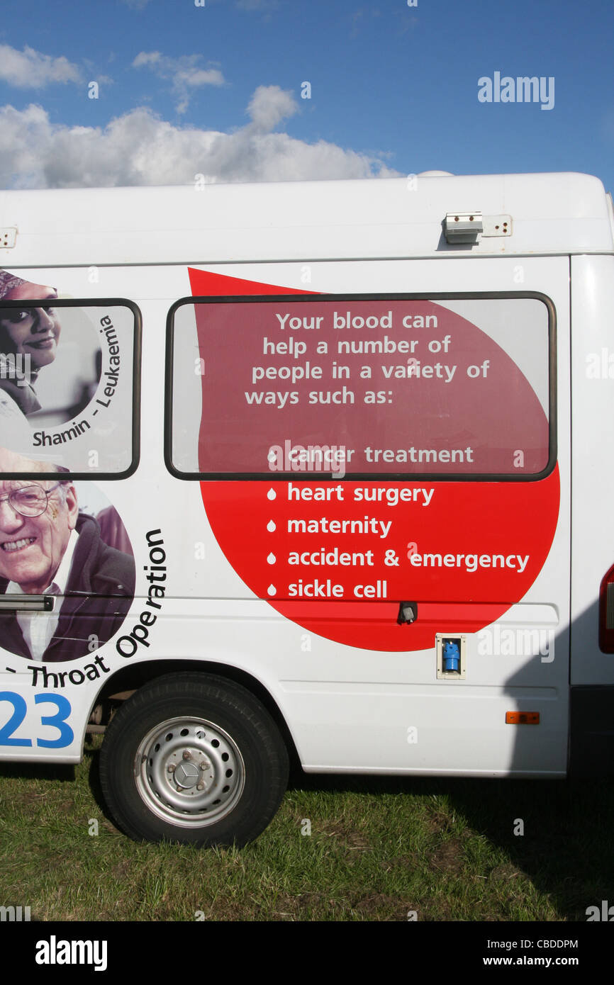 national blood service truck van mobile centre in wales. great britain, uk Stock Photo