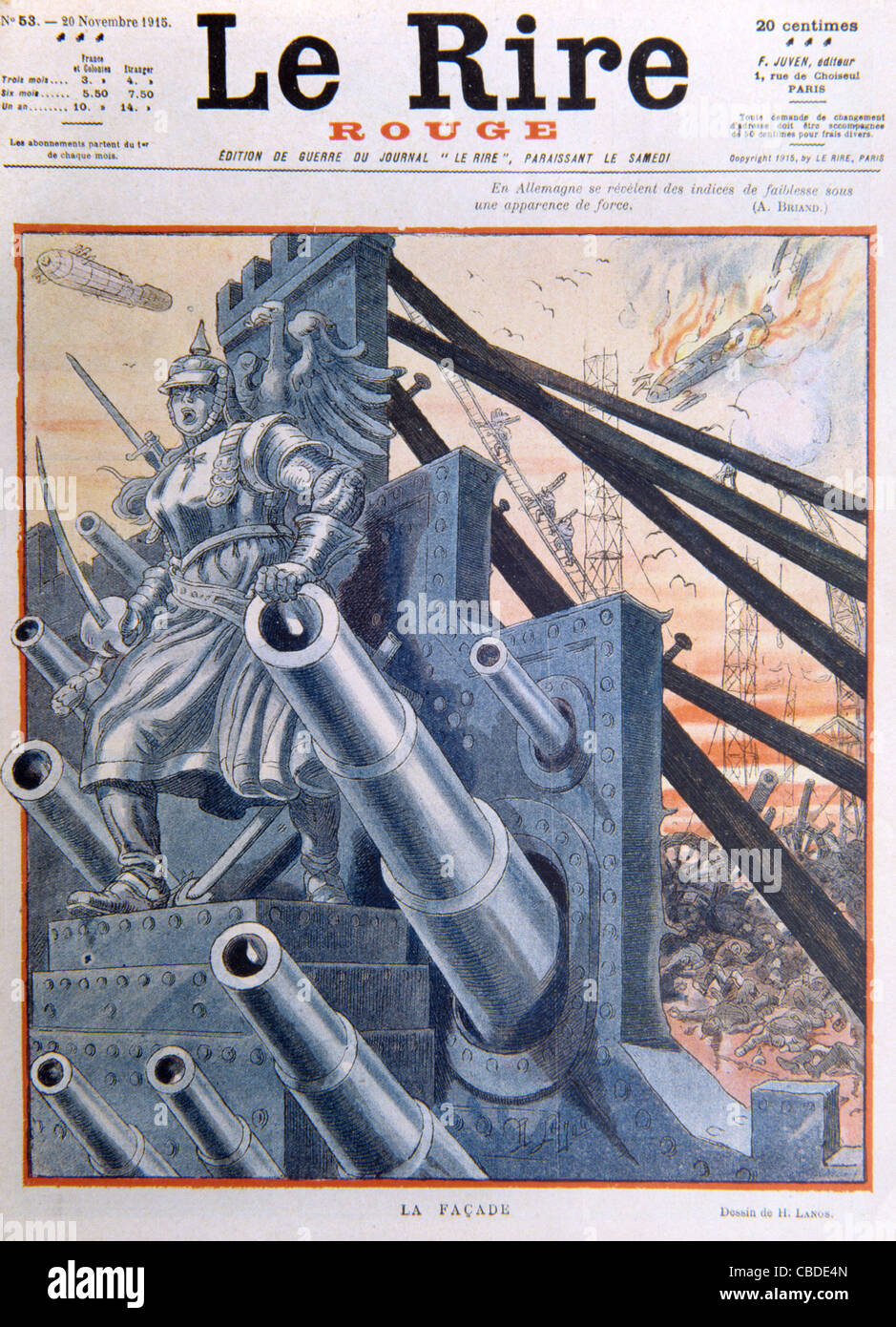 The German Army or War Machine Behind the Facade. Cover of French Satirical Magazine 'Le Rire' November - Stock Image
