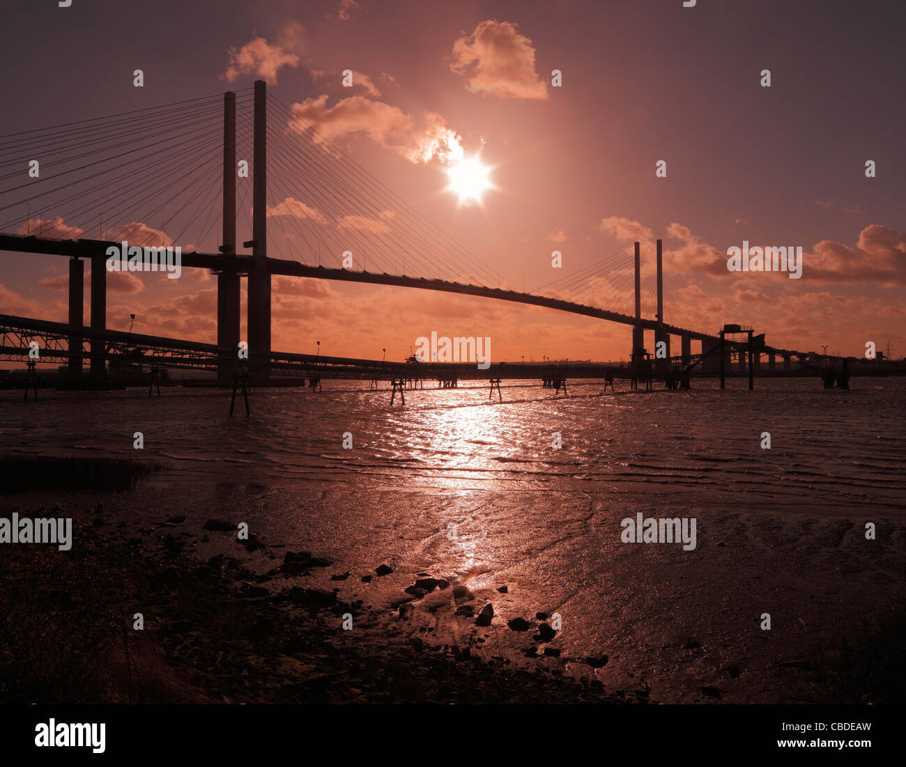 The Queen Elizabeth bridge at Dartford - Thurrock. - Stock Image