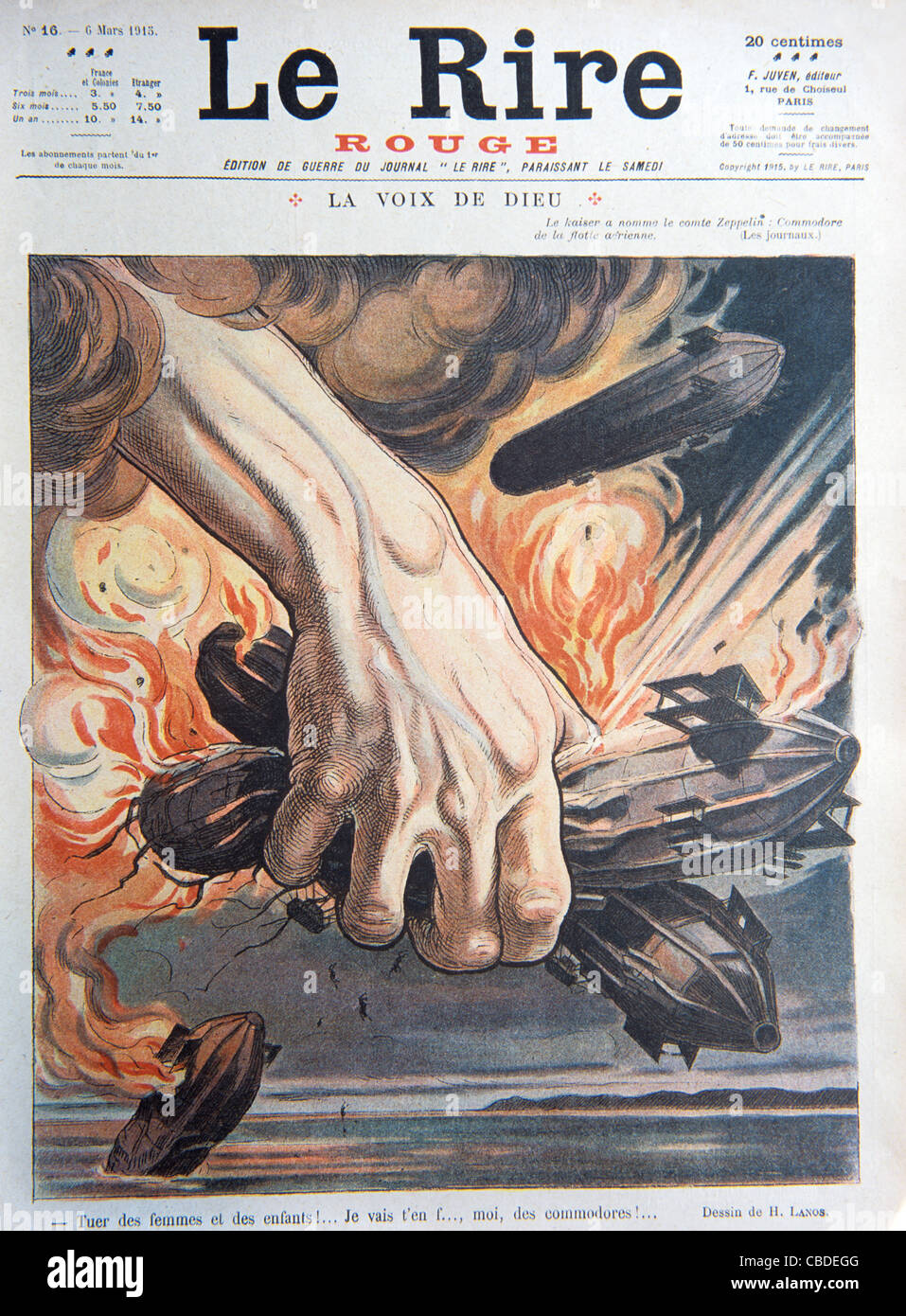 German Zeppelin Bombers Used in Air Raids in First World War. Cover of War Ed of French Satirical Magazine 'Le Rire', Stock Photo