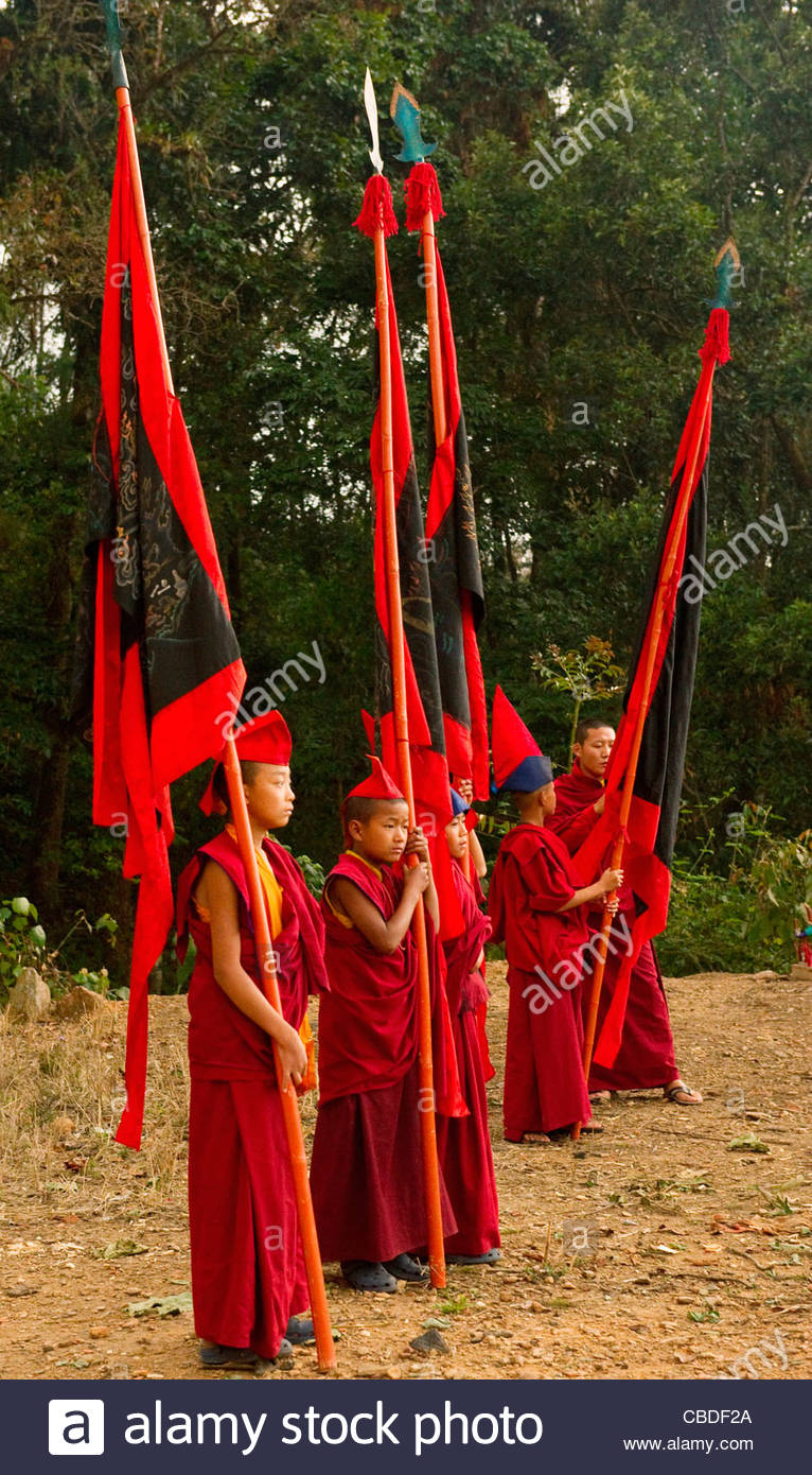 Buddhist Lama Monks in a ritual during Losar, Sikkim, India - Stock Image