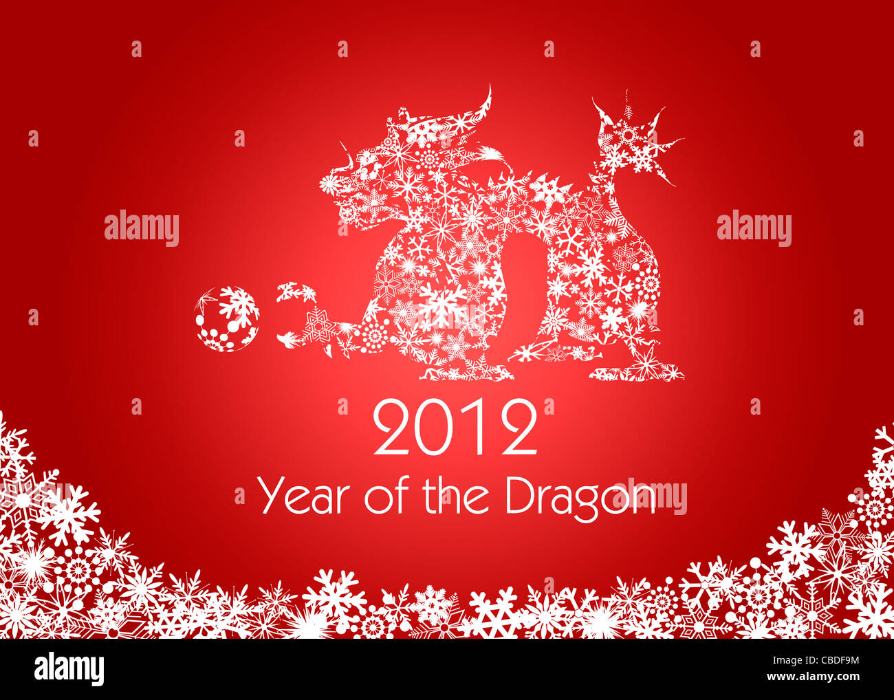 2012 Chinese New Year Dragon with Snowflakes Pattern on Red Background - Stock Image