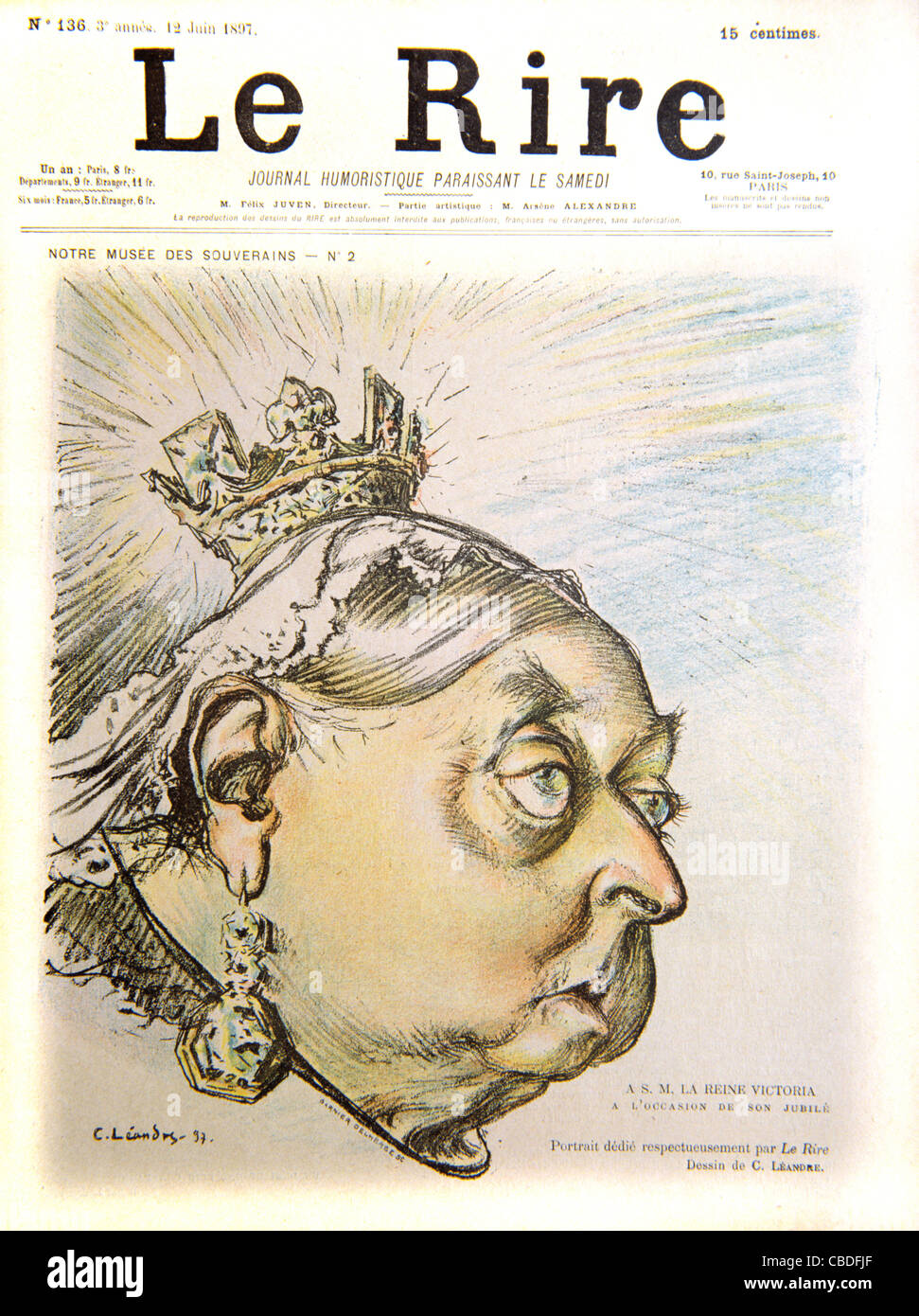 Satirical Portrait of Queen Victoria on her Sixtieth Jubilee Year. Cover of French Satirical Magazine 'Le Rire', - Stock Image